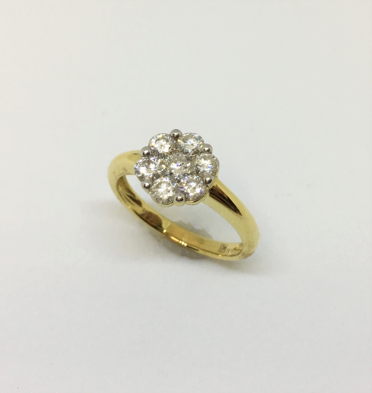 Almost 1 Carat 18K Yellow Gold Cluster Diamond Ring