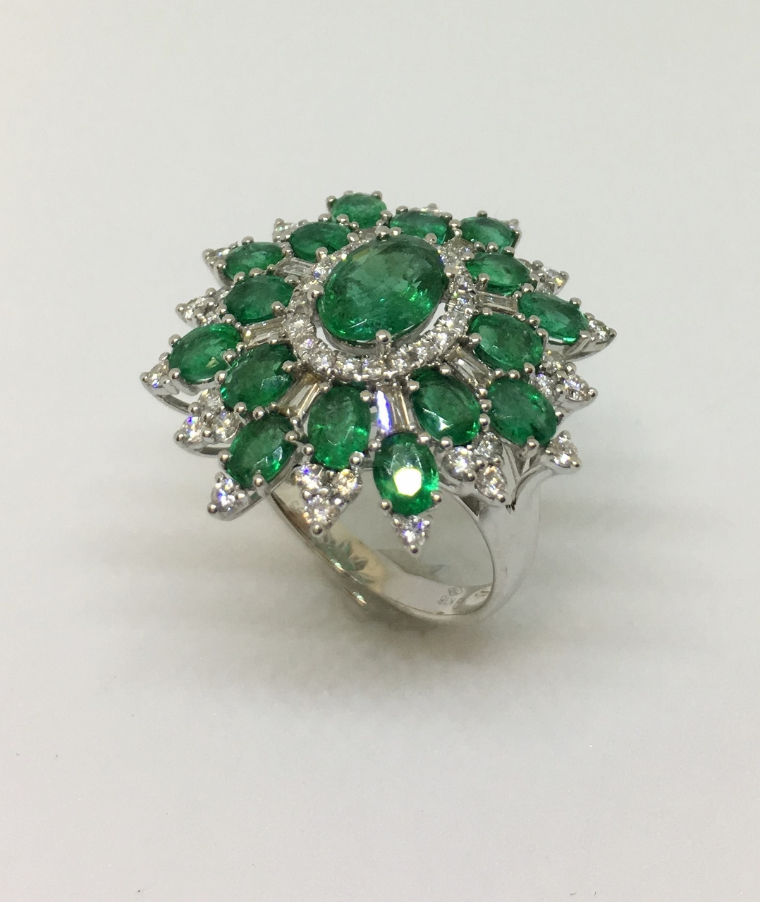 3.5 Carats Total Weight Emerald & Diamond Ring