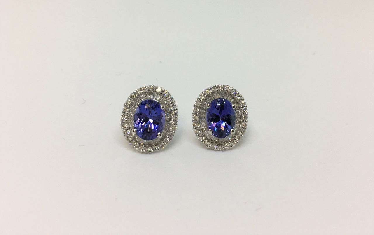 3 Carats Tanzanite Diamond Earrings