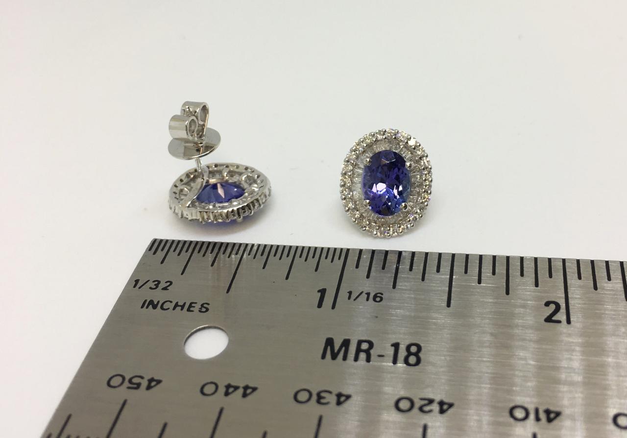 3 Carats Tanzanite Diamond Earrings