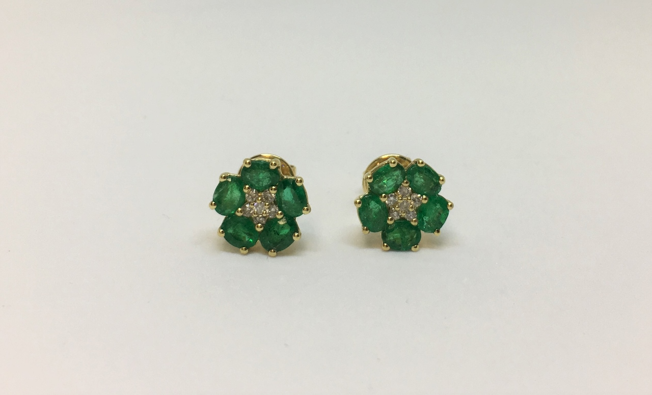 Over 1 Carat Emerald Earrings In Yellow Gold