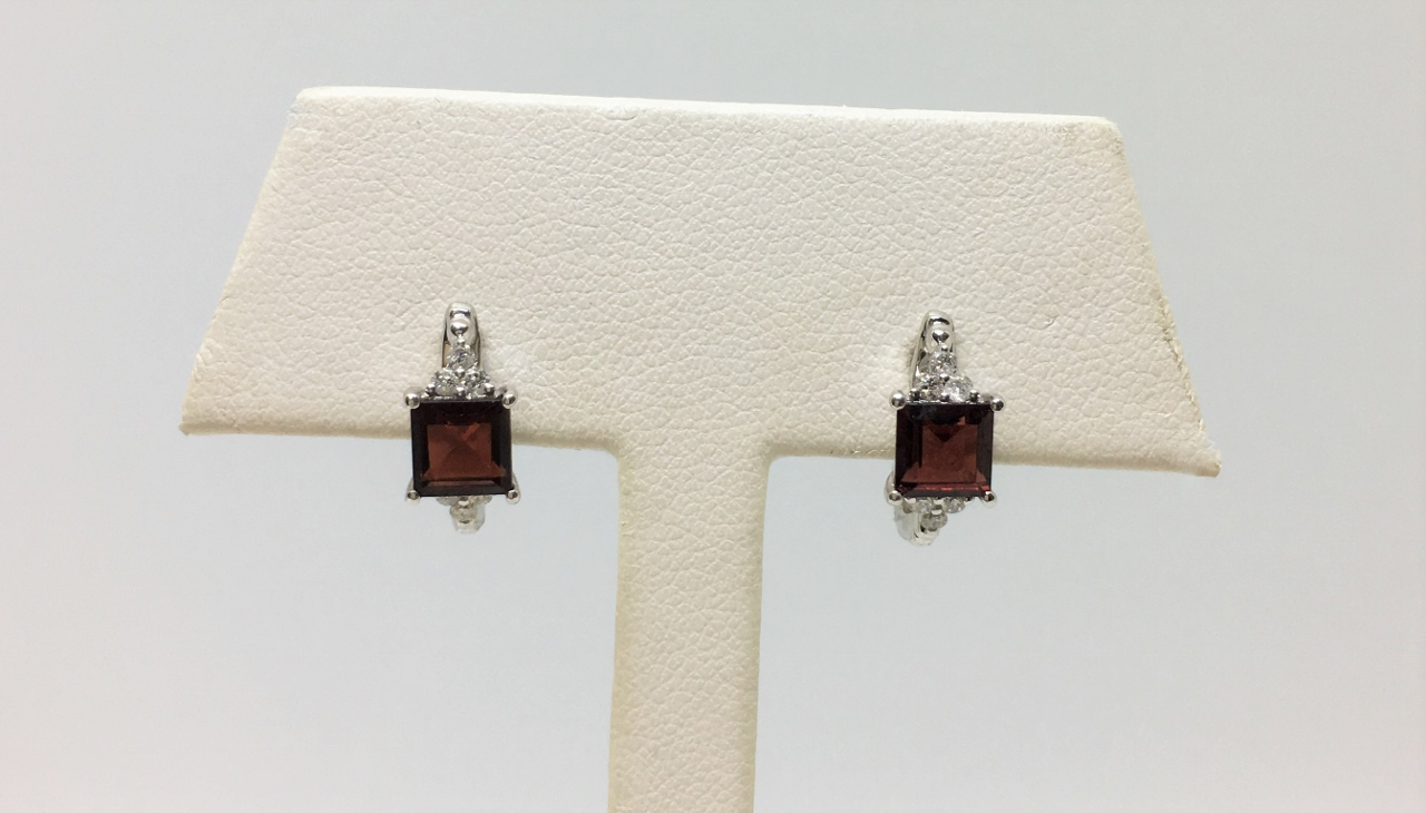 Over 1 Carat Garnet White Gold Earrings