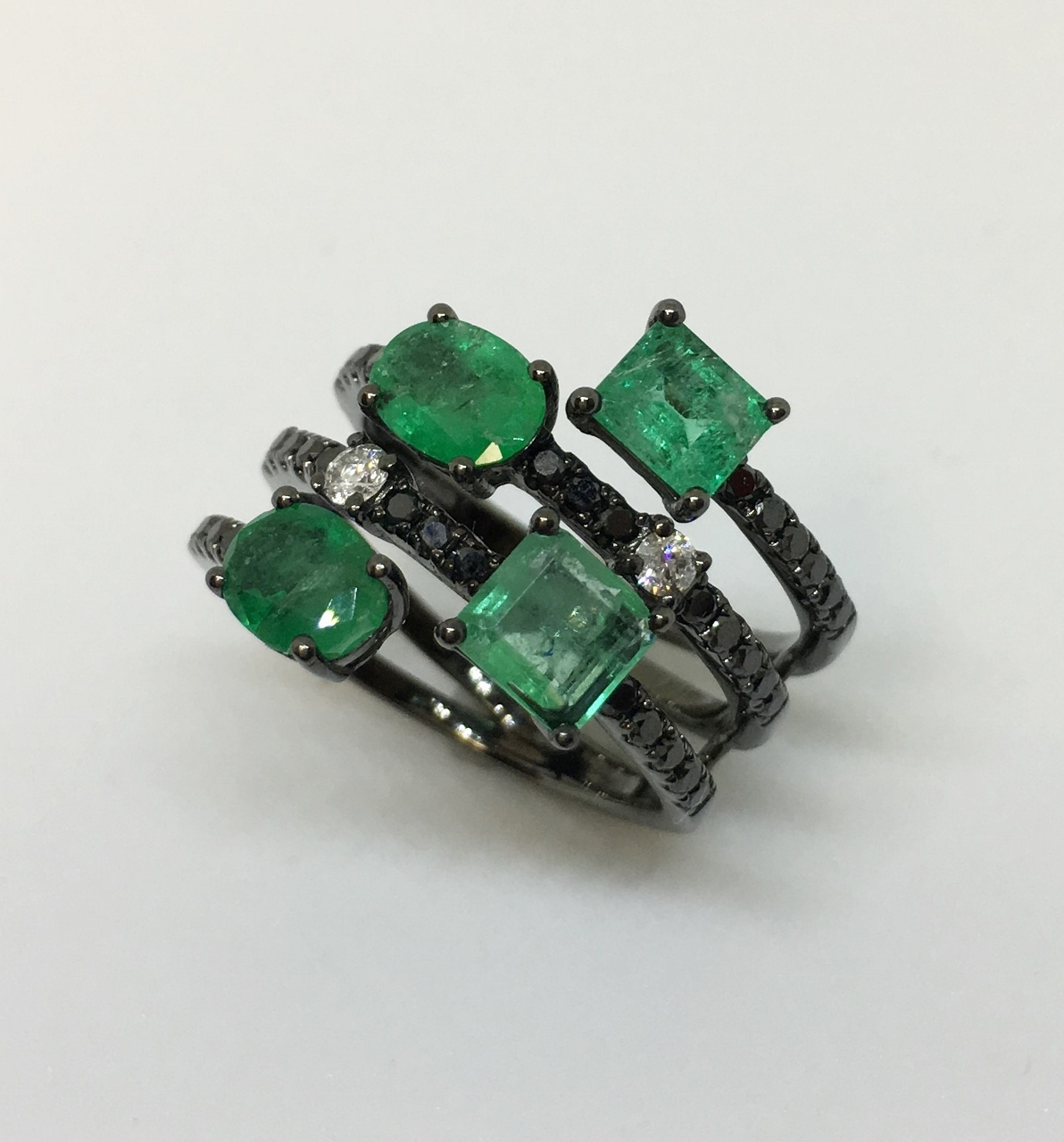 Black Rhodium Emerald & Diamond Cocktail Ring