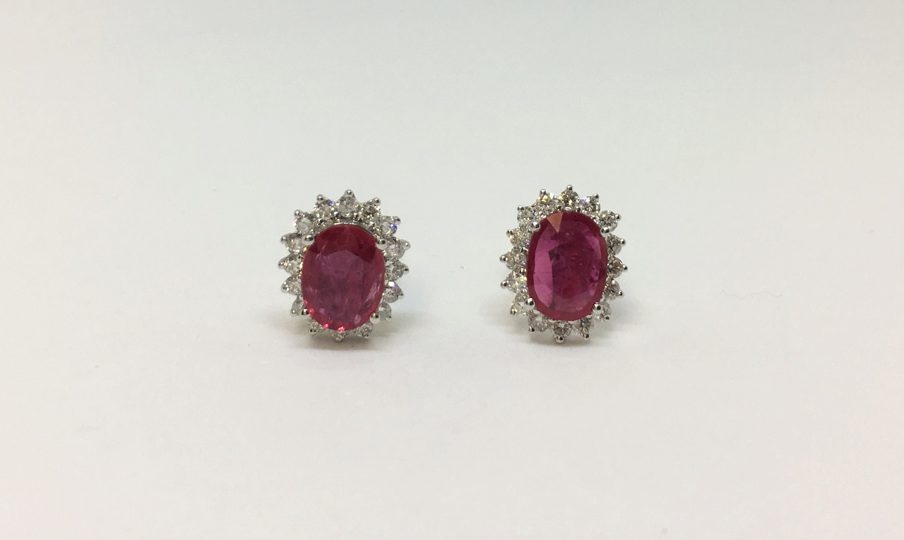 2 Carats Total Weight Ruby & Diamond Earrings