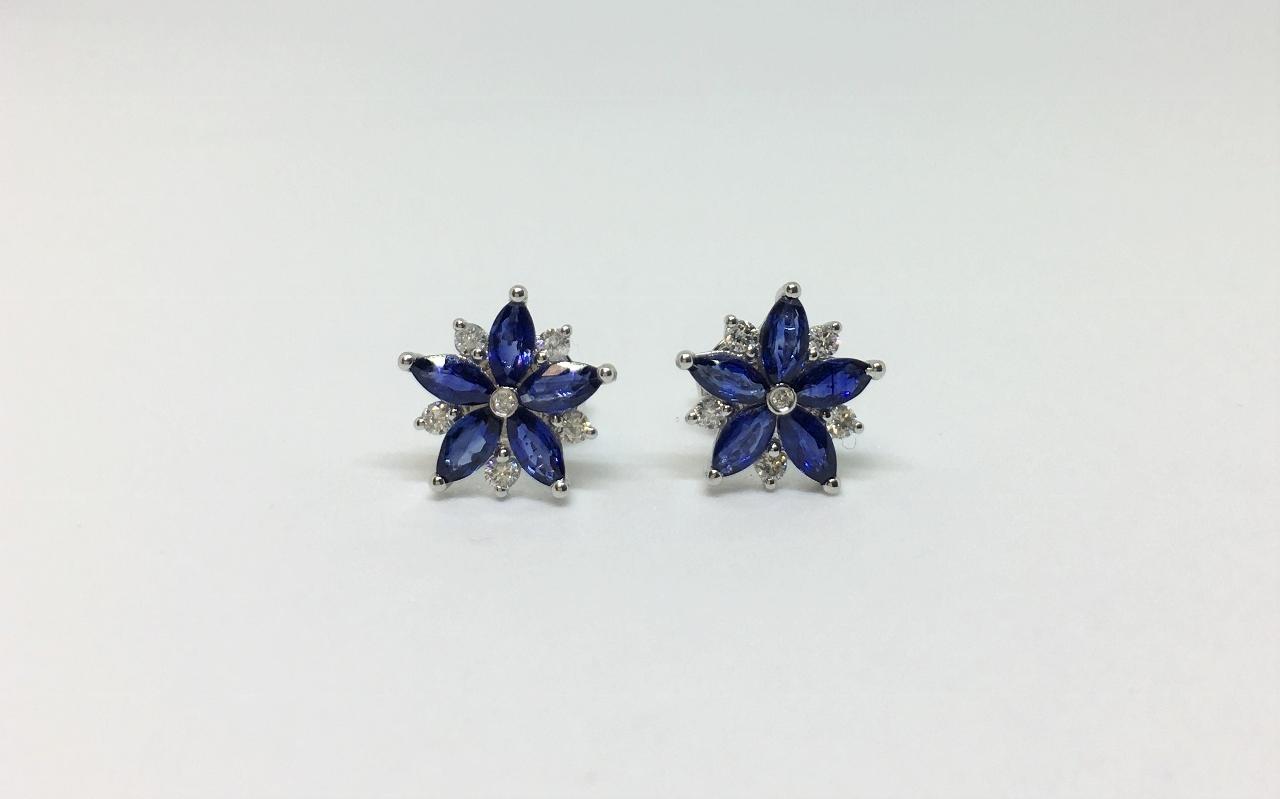 1.30 Carats Sapphire Diamond Earrings