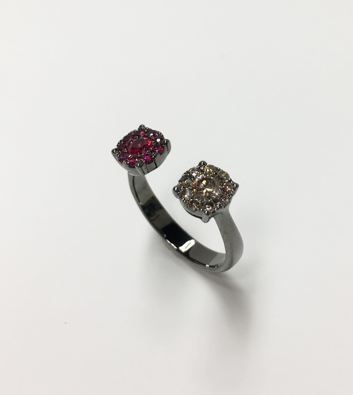 Open Side Ruby & Diamond Ring
