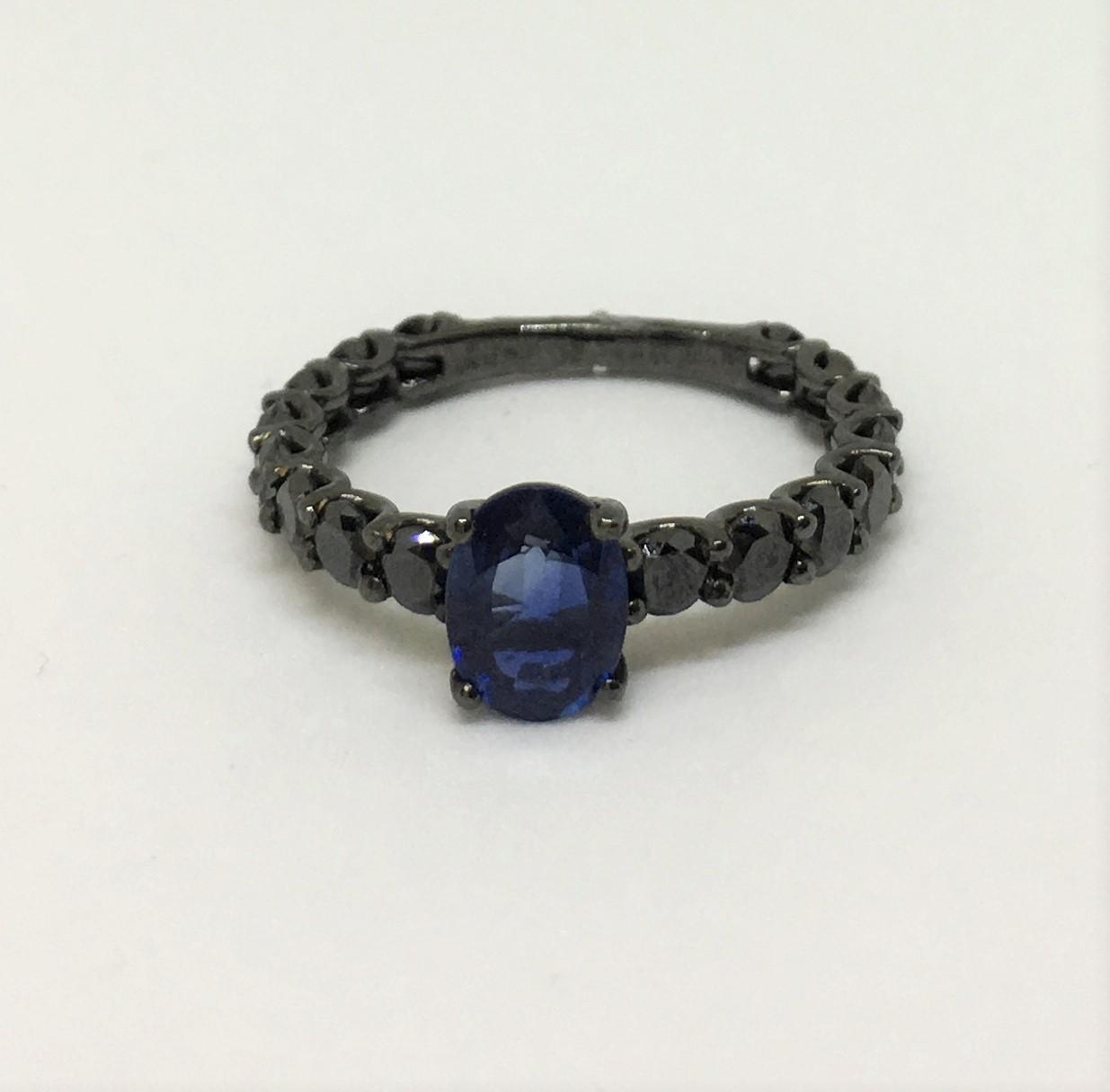 1.10 Carats Sapphire & Black Diamond Ring