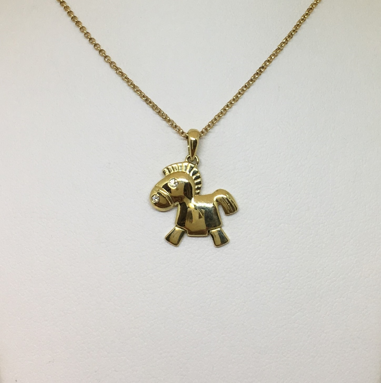 18K Yellow Gold Horse Design Pendant With Chain