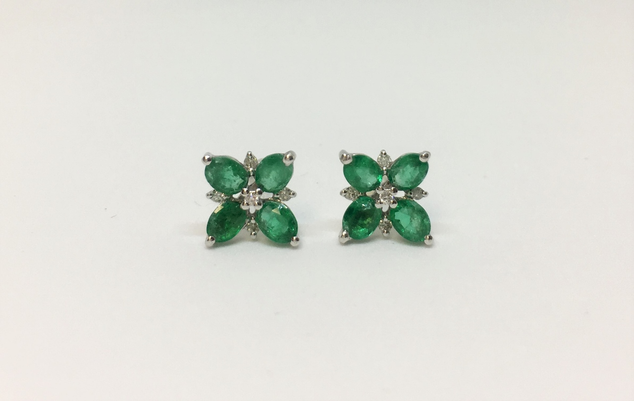 Over 1 Carat Total Weight Emerald White Gold Earrings