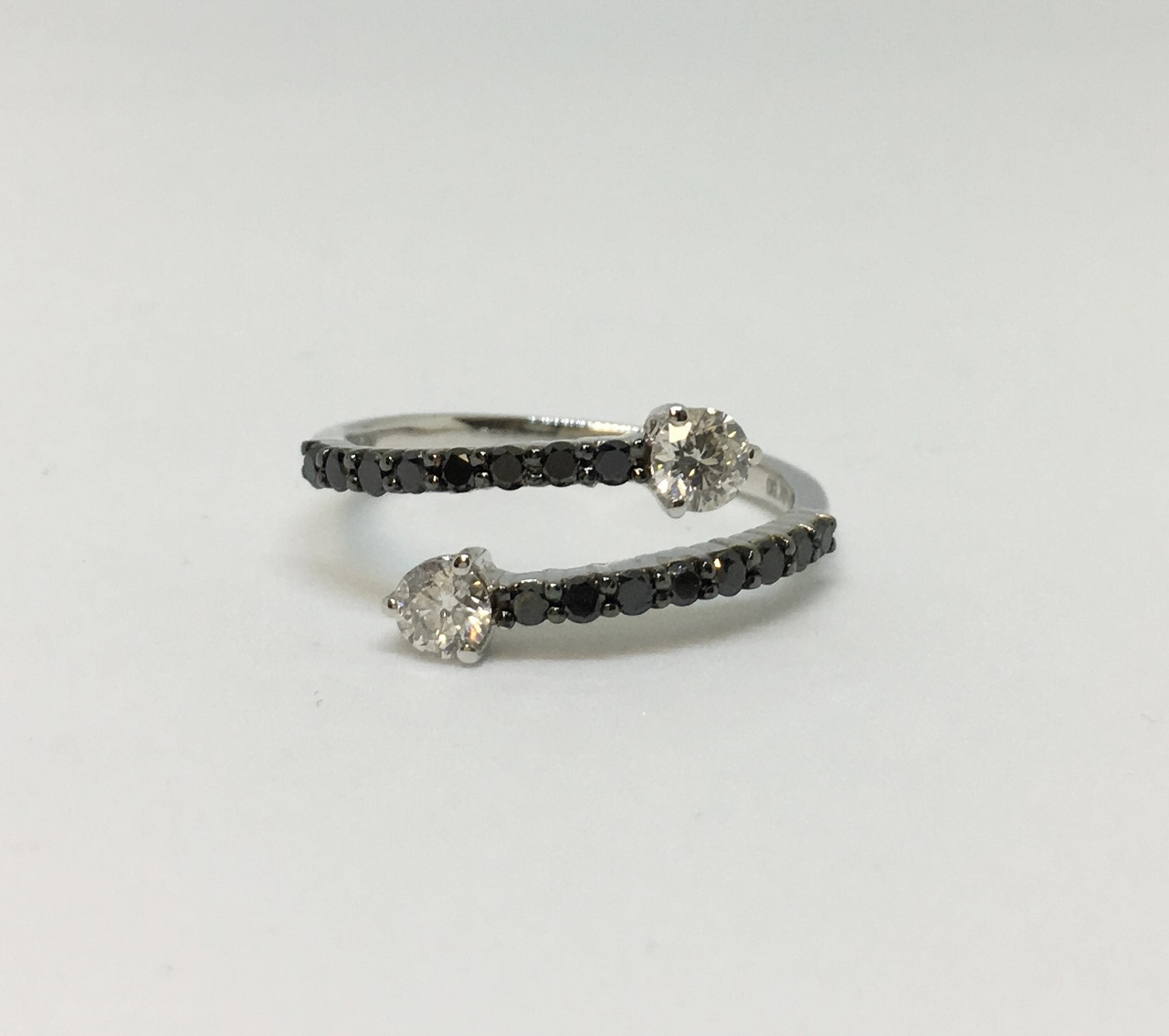 Three Quarter Carats Total Weight Black & White Diamond Open Rin