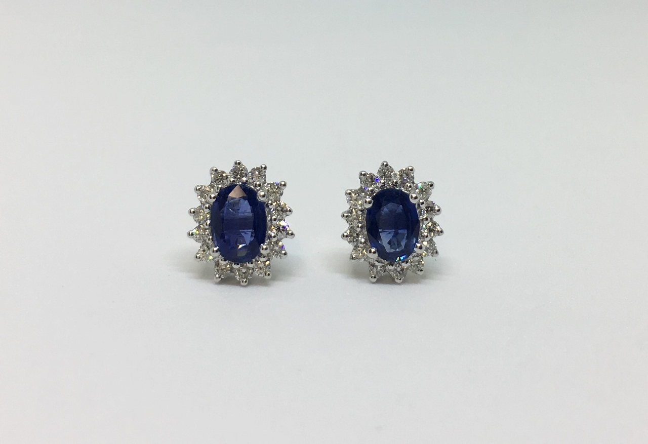 Over 1 Carat Total Weight Sapphire & Diamond Earrings