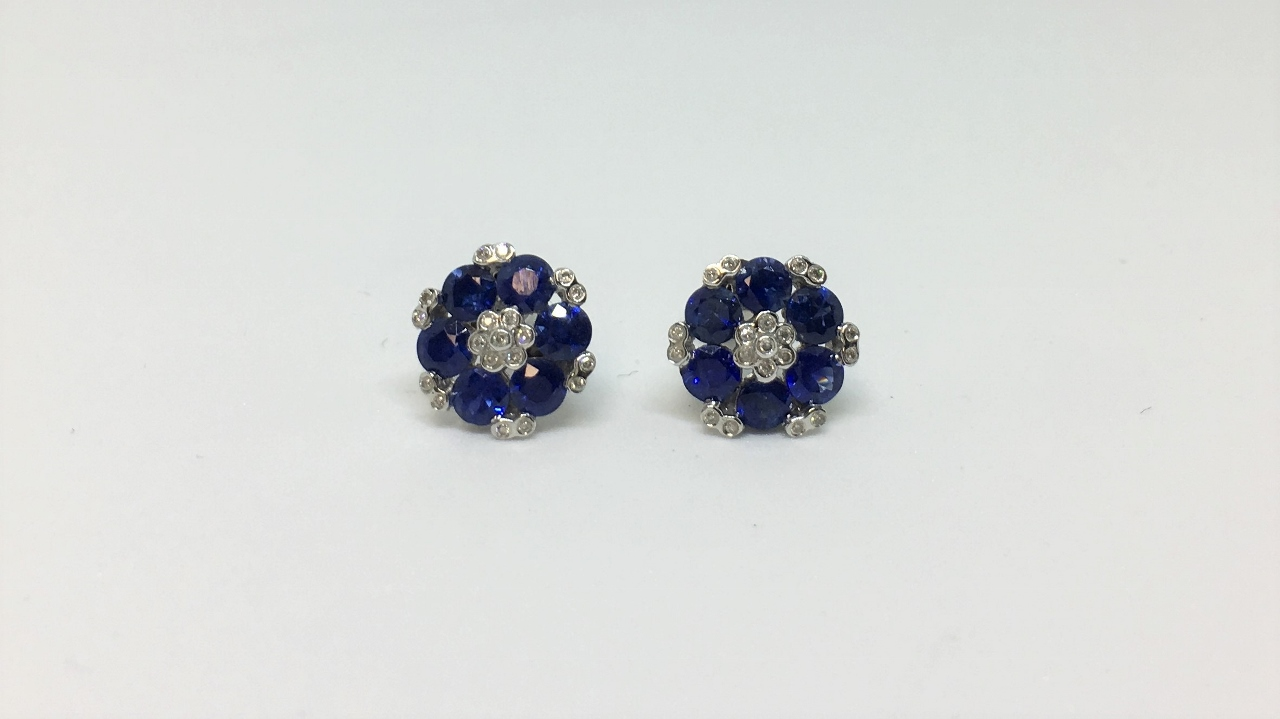 1.90 Carats Total Weight Sapphire White Gold Earrings