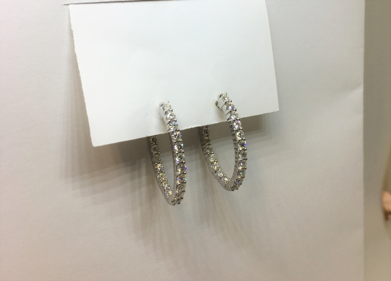2 Carats Total Weight Inside/Out Diamond Hoop Earrings
