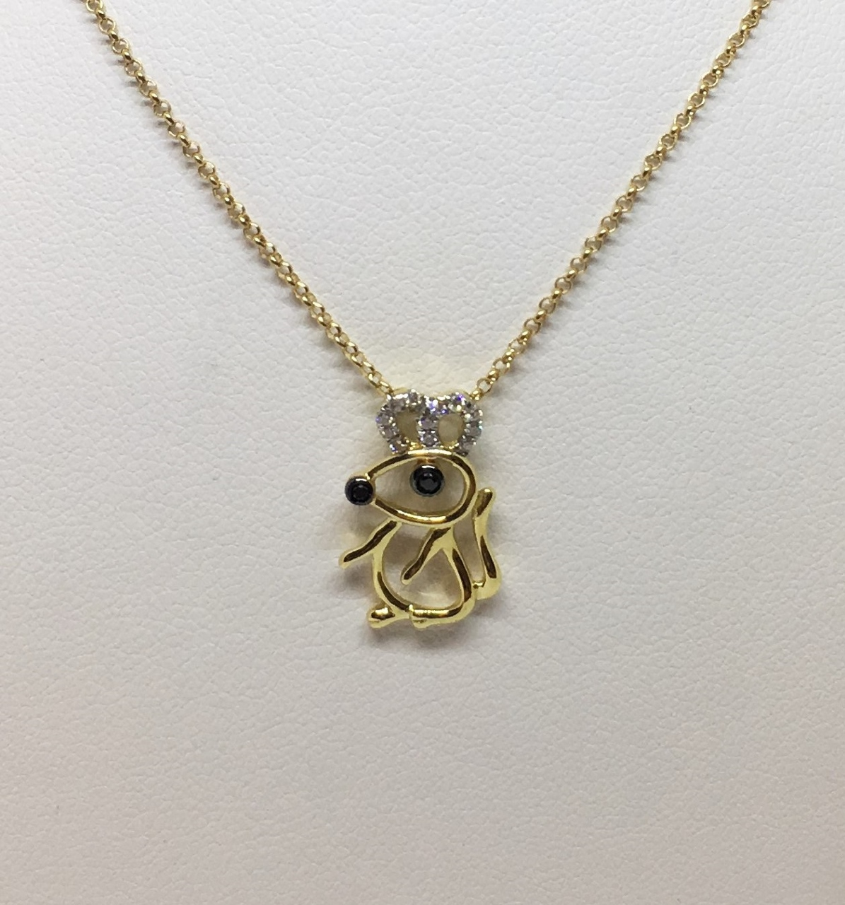 18K Yellow Gold Mouse Design Pendant With Chain