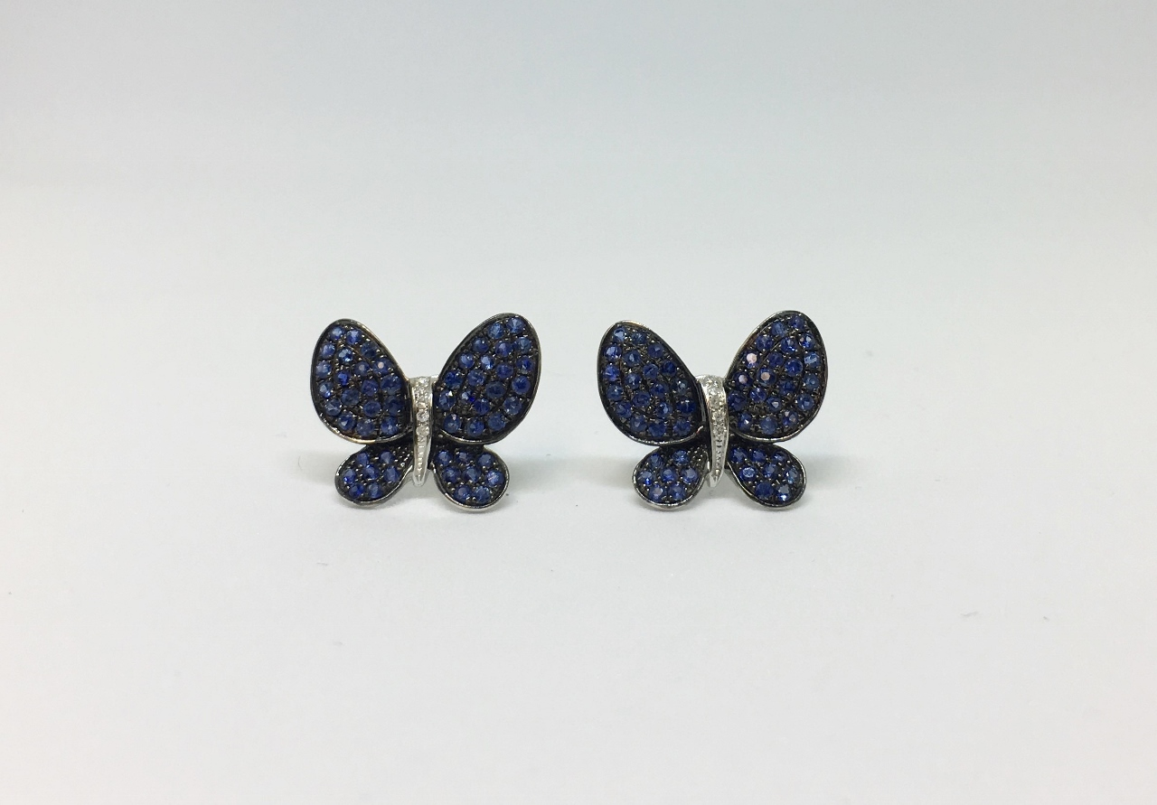 Butterfly Design Sapphire White Gold Earrings