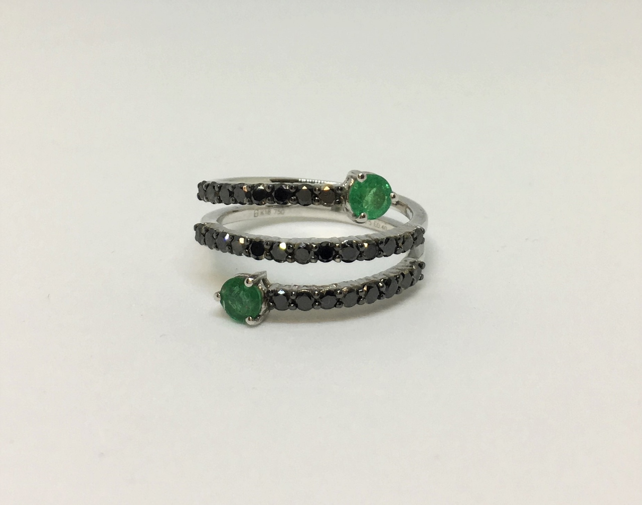 White Gold Spiral Ring With Emeralds & Diamonds