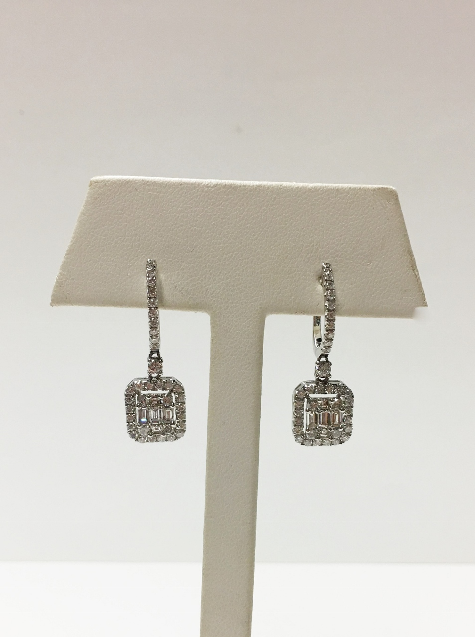 Over 1 Carats Total Weight Diamond Dangling Earrings
