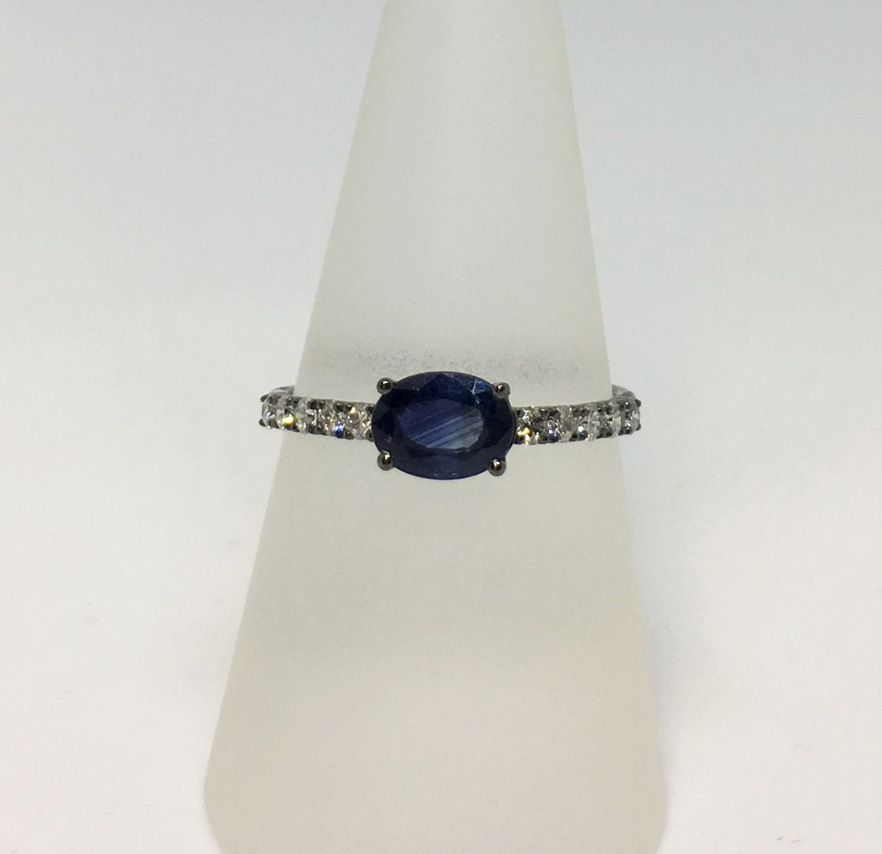 Black Rhodium Sapphire Diamond Ring