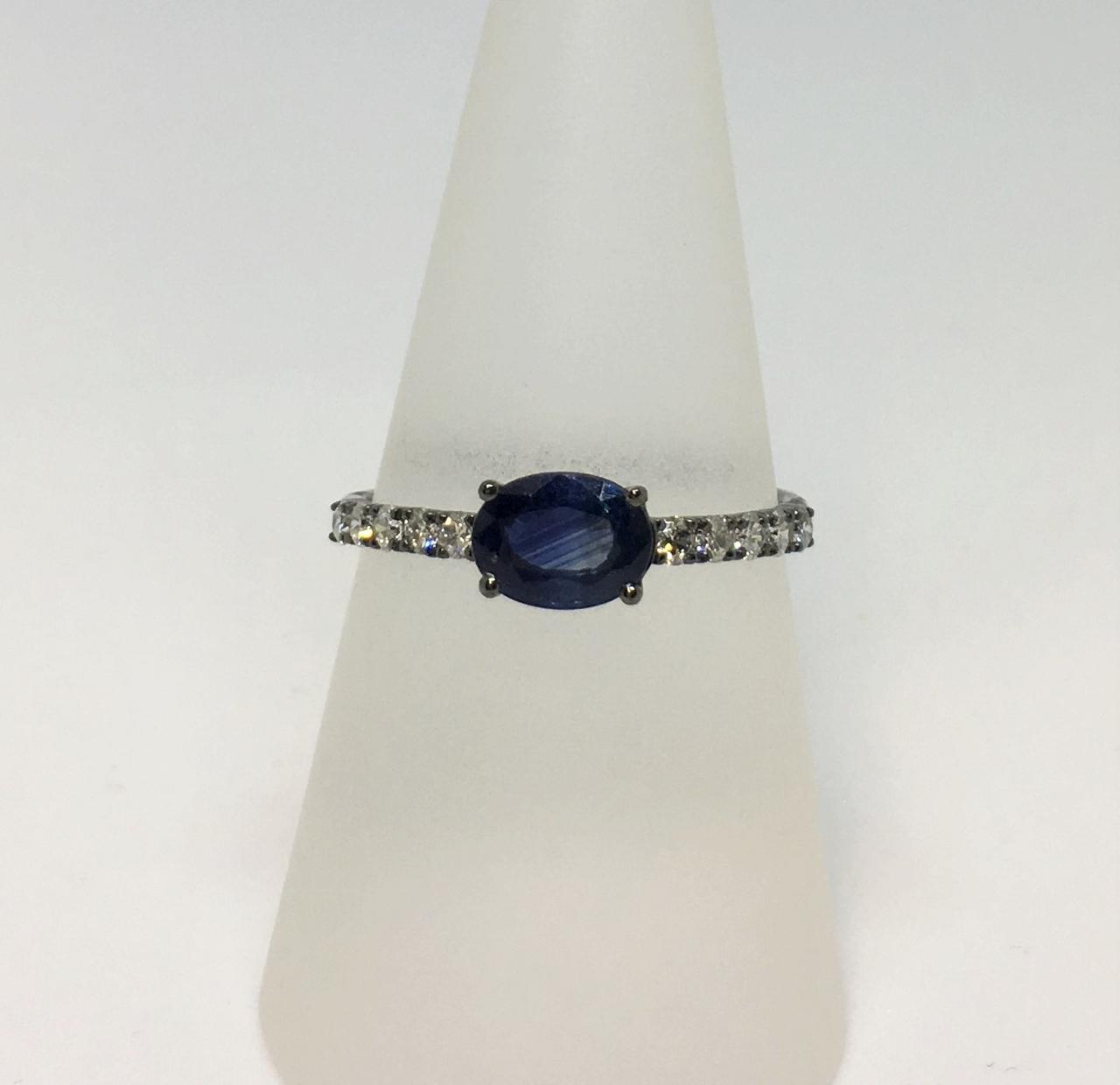 Black Rhodium Sapphire Diamond Ring