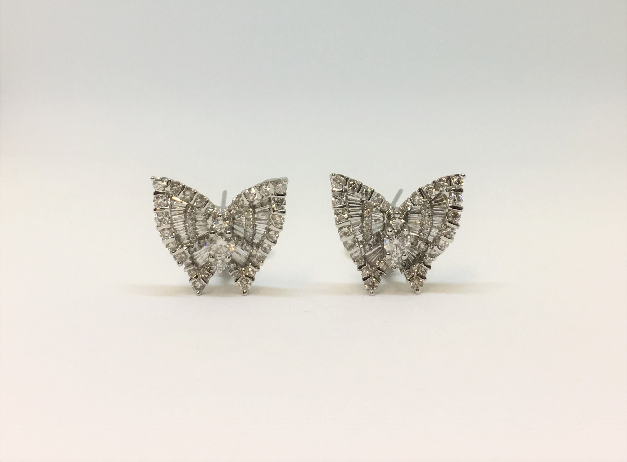 2.85 Carats Total Weight Diamond Butterfly Earrings