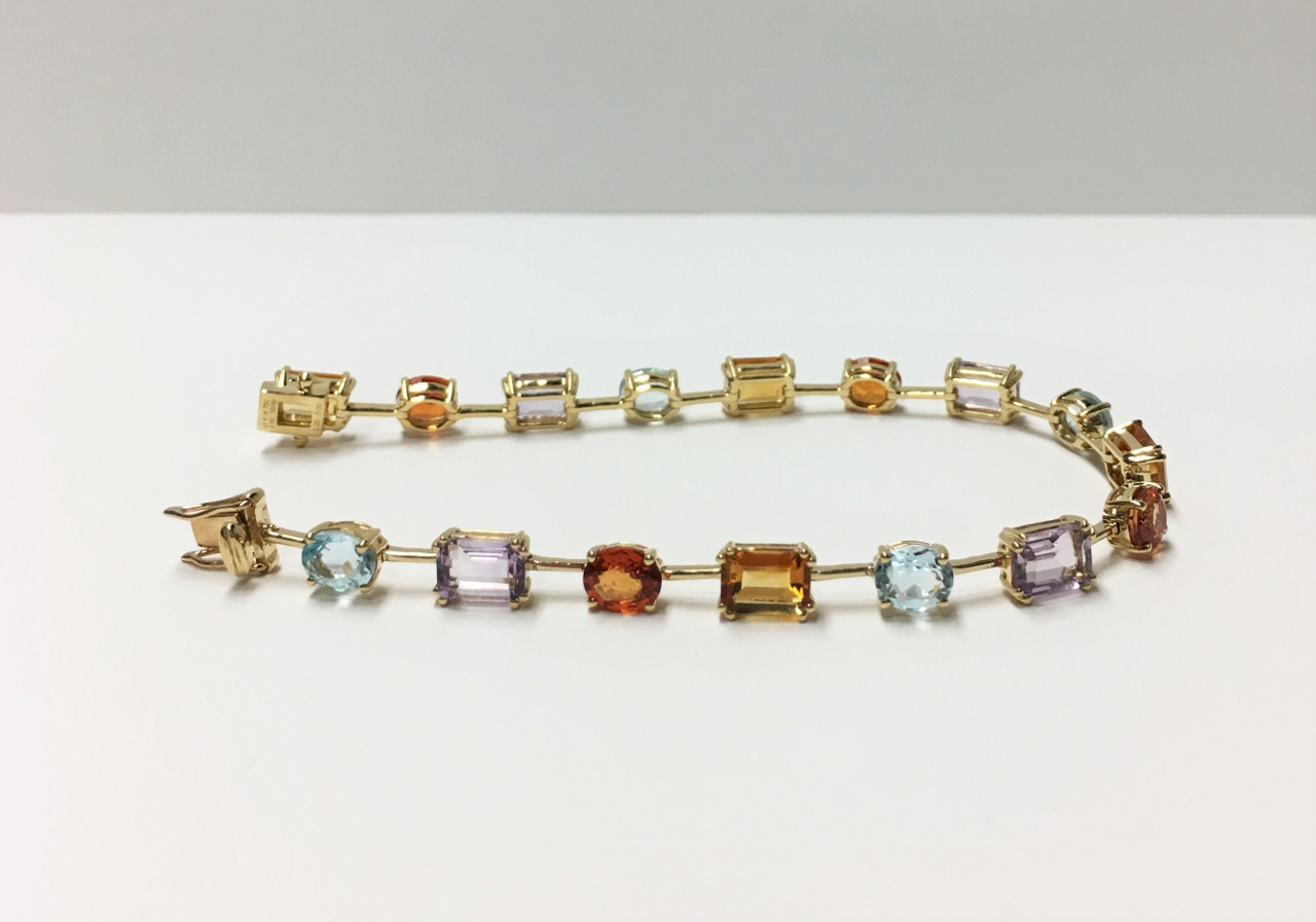 Multi-Color Gemstone Yellow Gold Bracelet