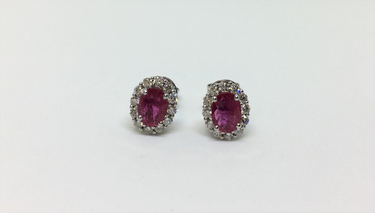 Over 1 Carat Total Weight Ruby & Diamond Earrings
