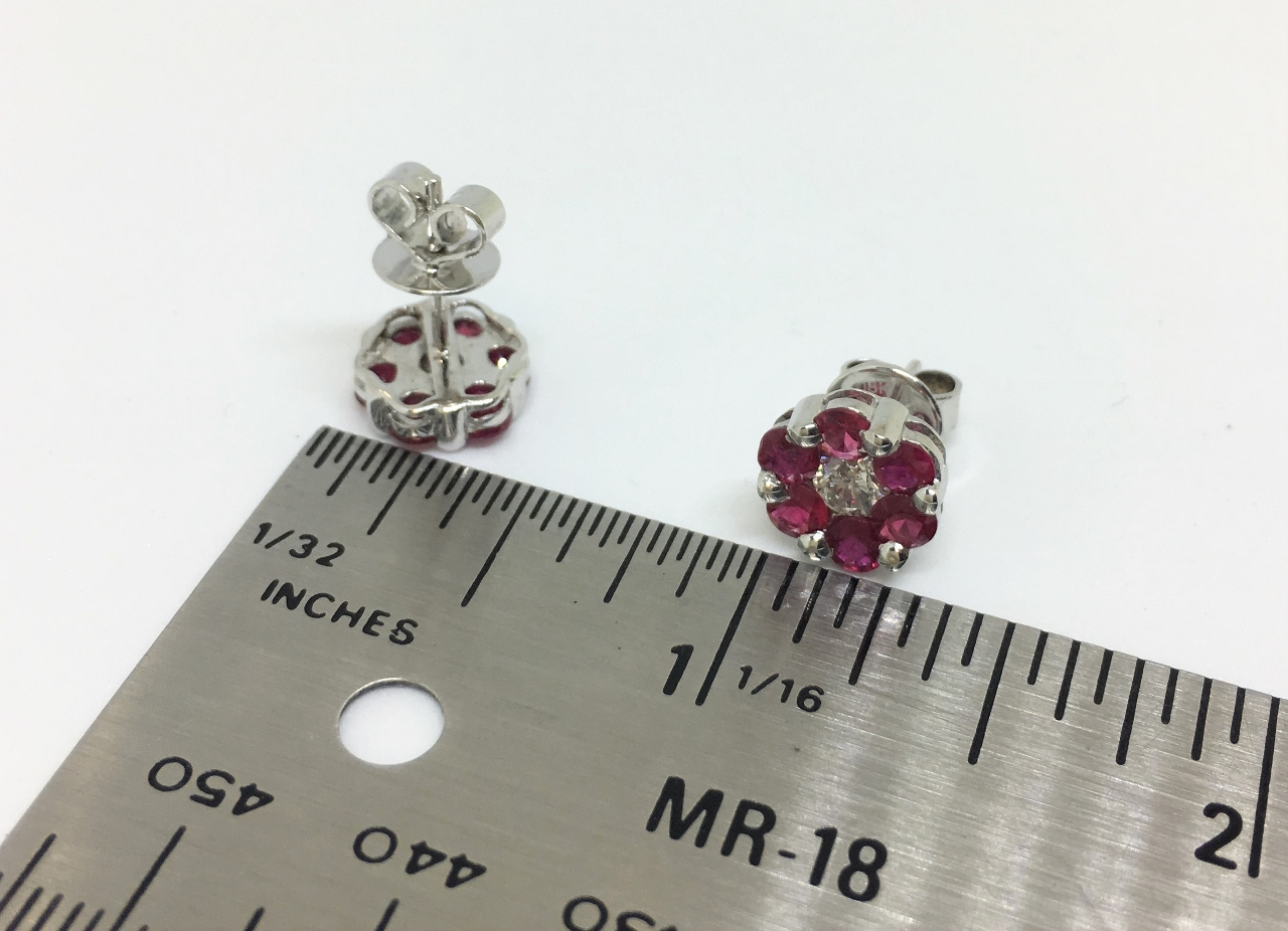 Floral Design Ruby White Gold Earrings