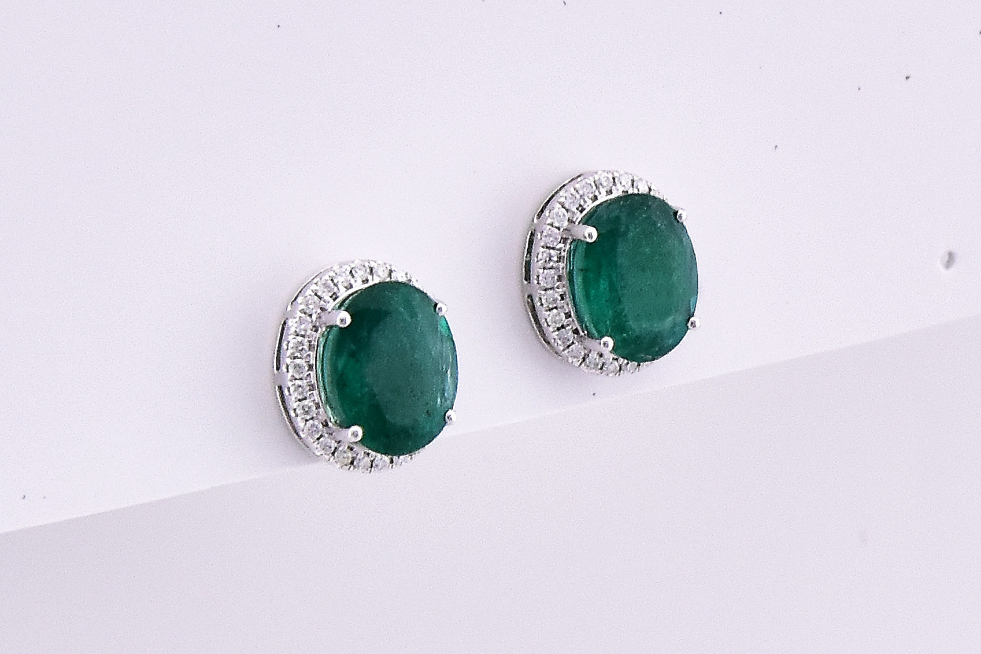 Over 4 Carats Total Weigh Emerald Diamond Earrings