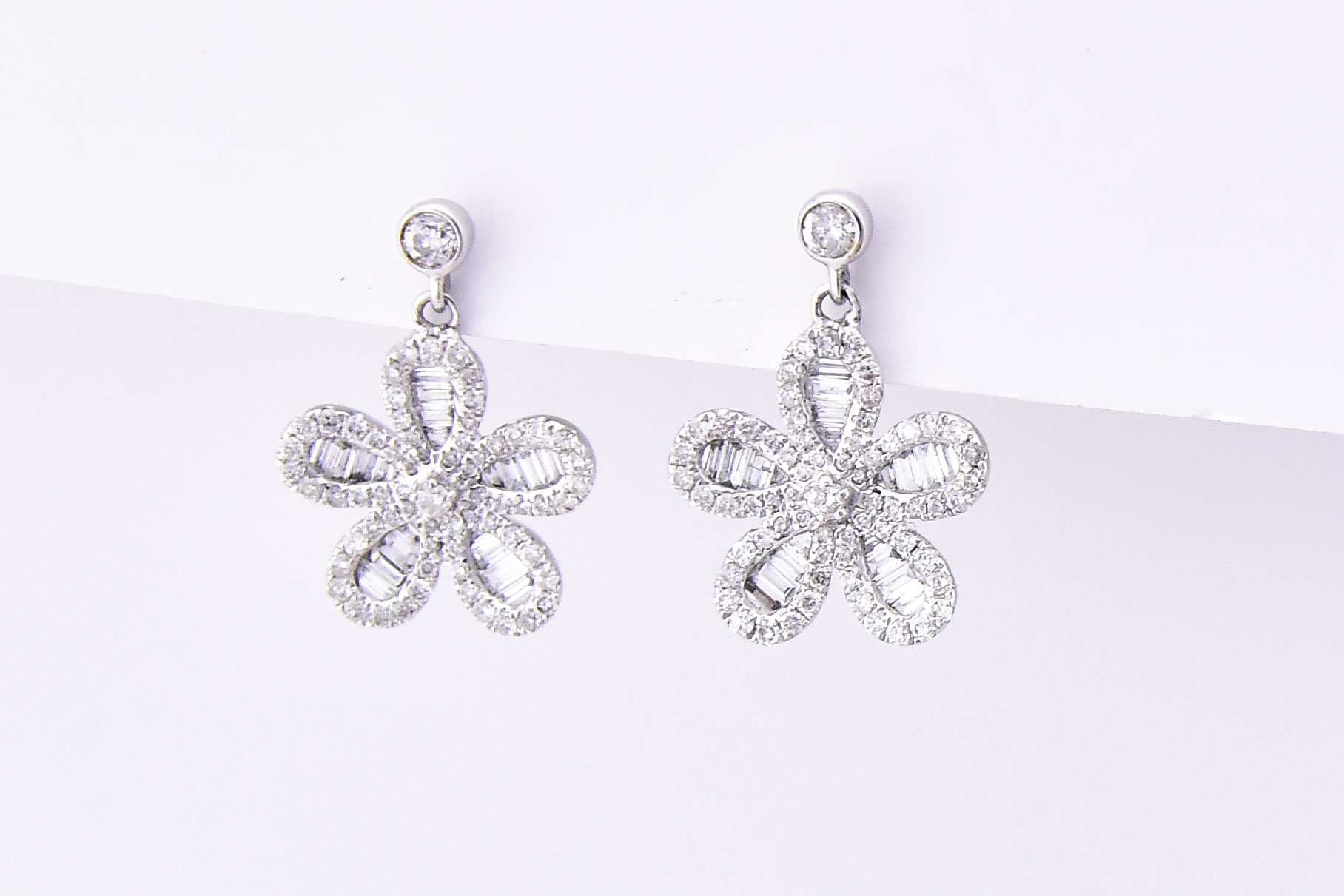 Over 1 Carat Total Weight Floral Design Diamond Earrings
