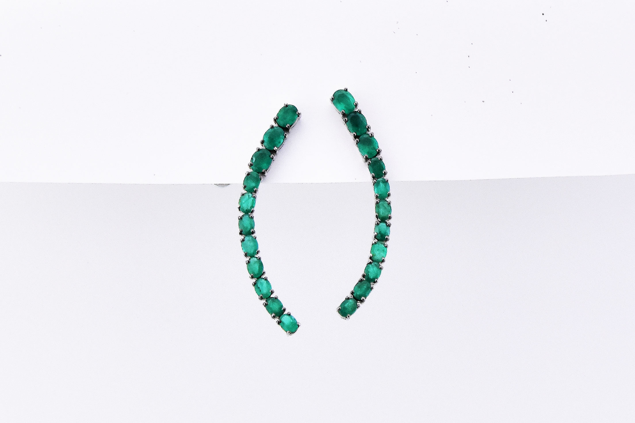 4 Carats Total Weight Emerald Ear Crawlers