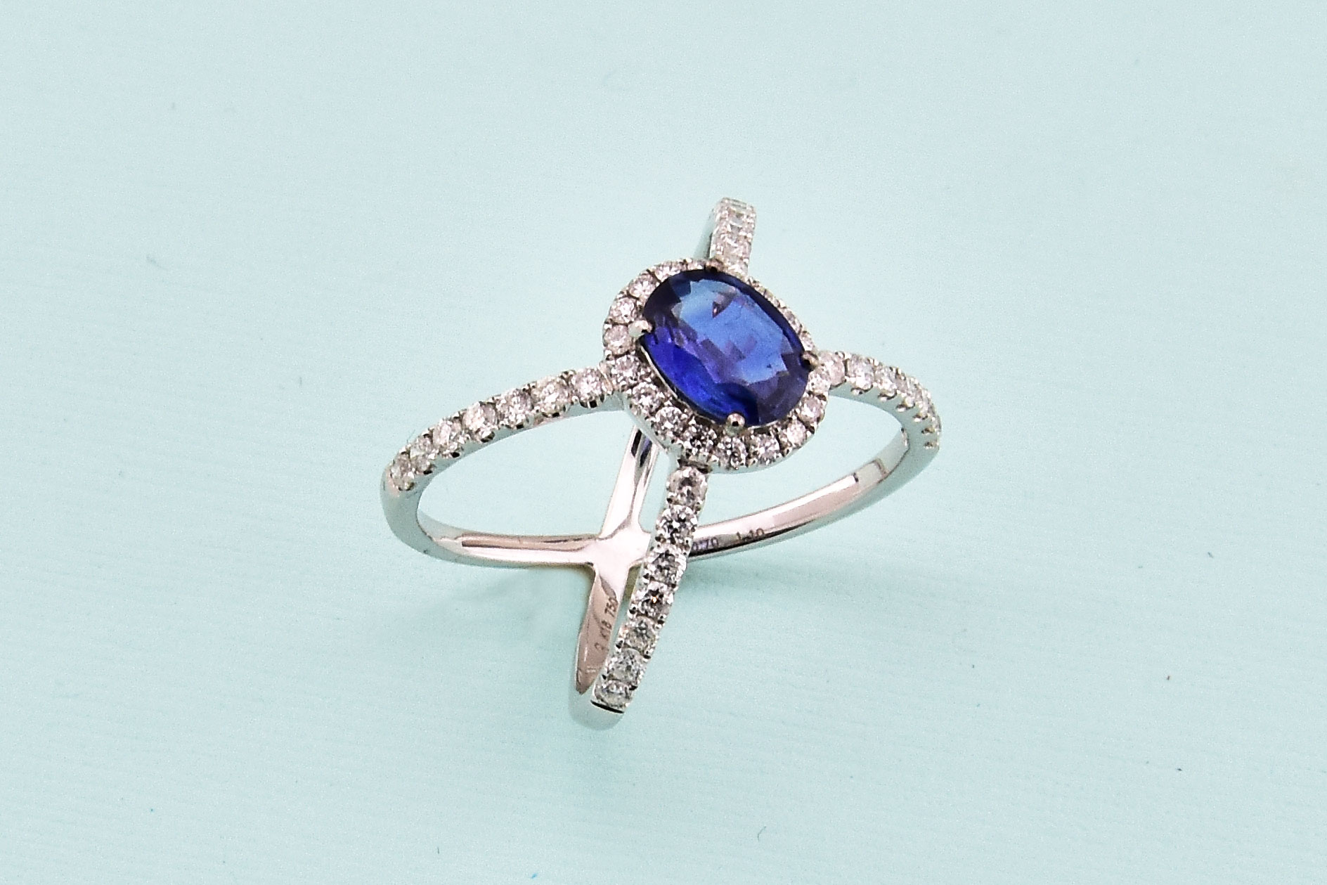Over 1 Carat Sapphire Diamond Cocktail Ring