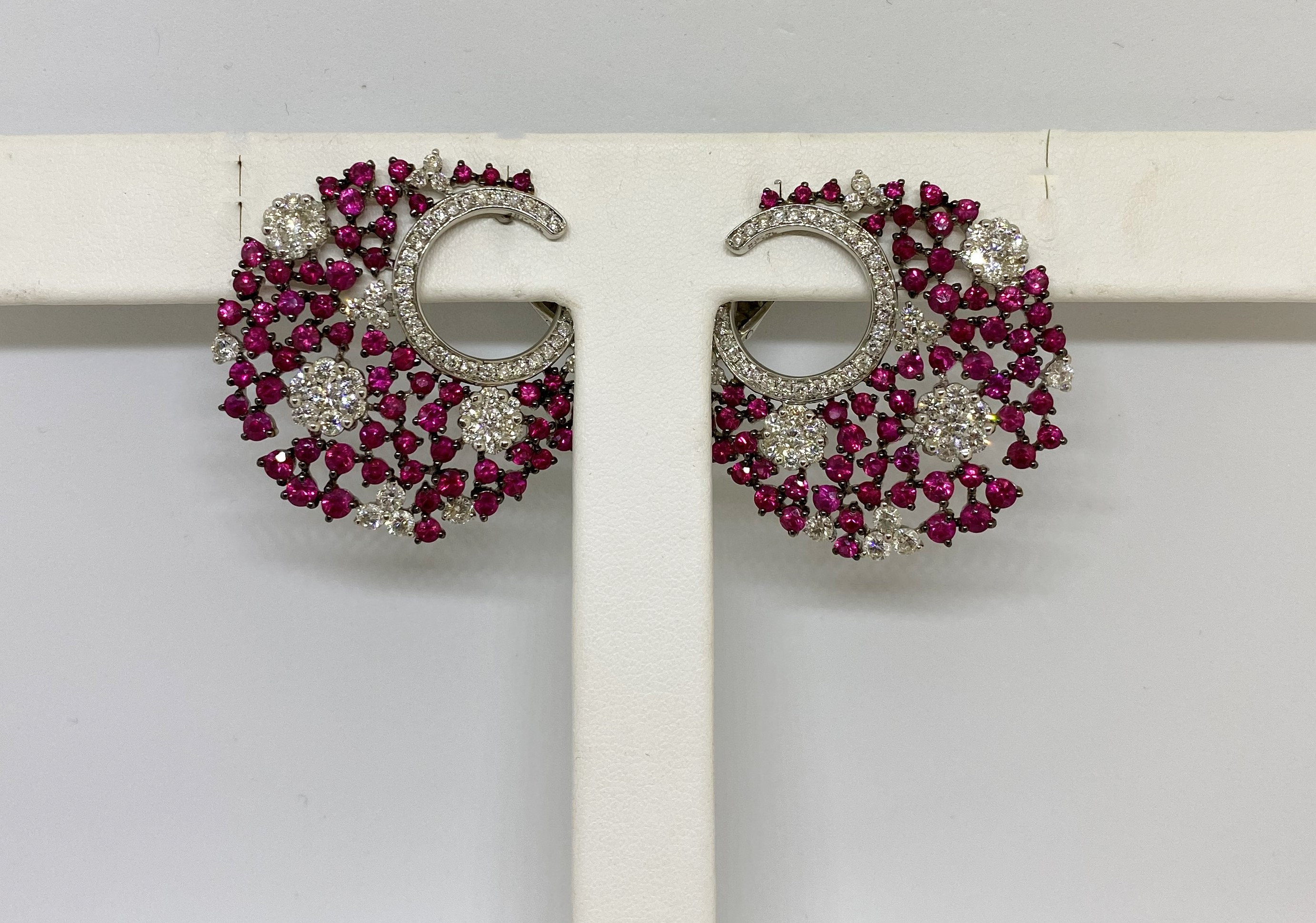 Almost 8 Carats Total Weight Ruby & Diamond Earrings