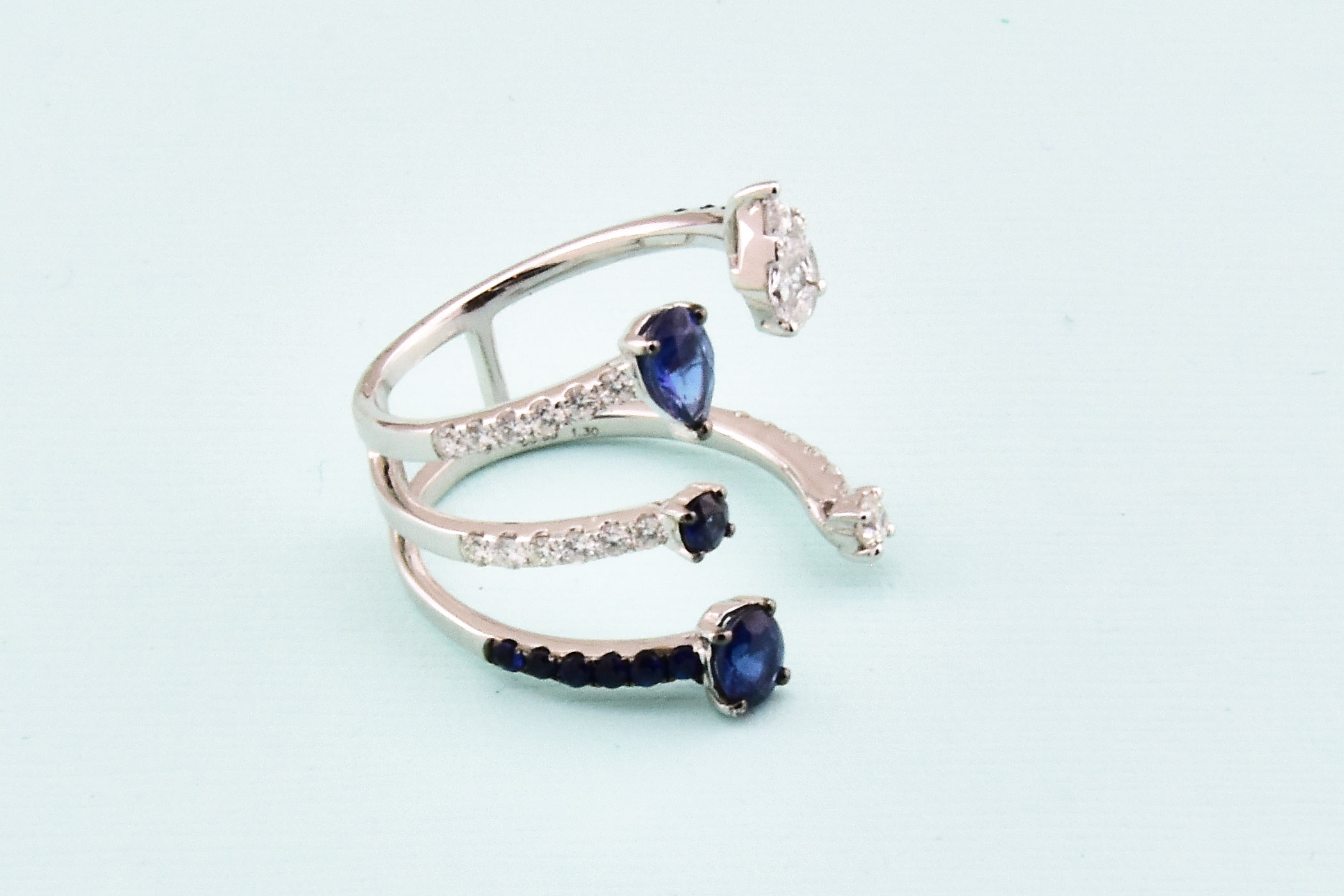 Sapphire & Diamond Open Style Cocktail Ring