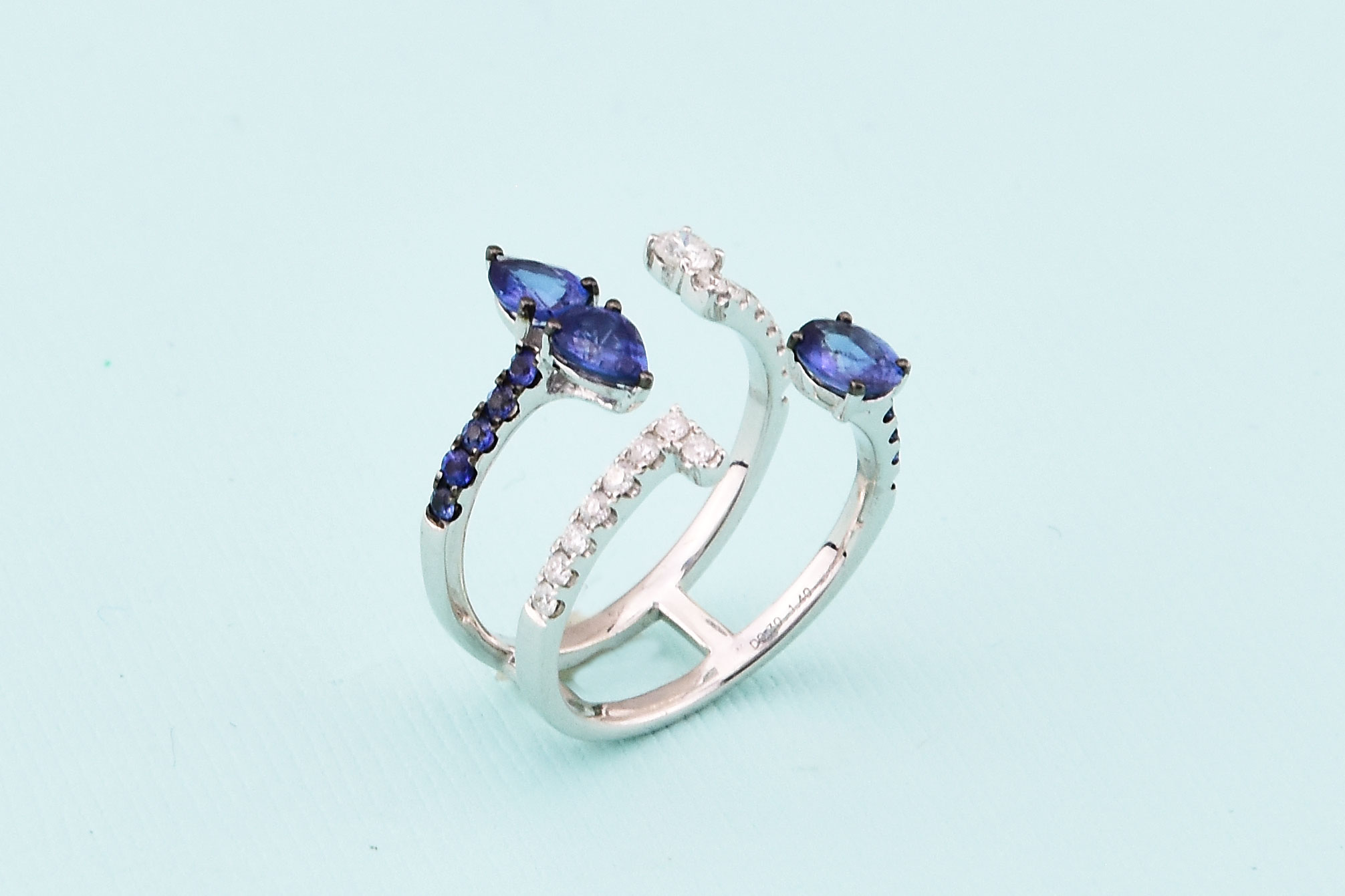 Almost 1.50 Carats Total Weight Sapphire Cocktail Ring