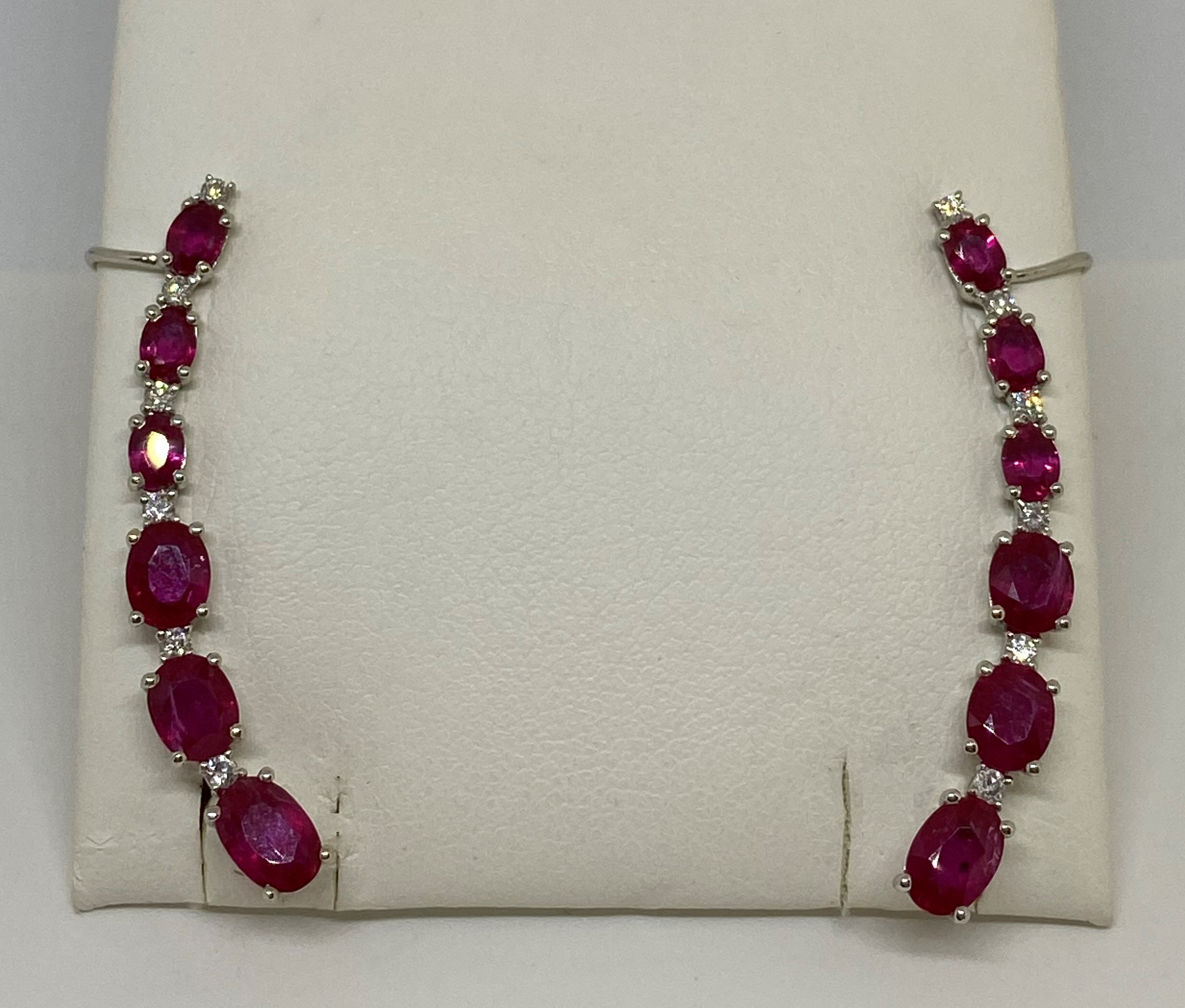 Almost 4 Carats Ruby Earring Crawlers
