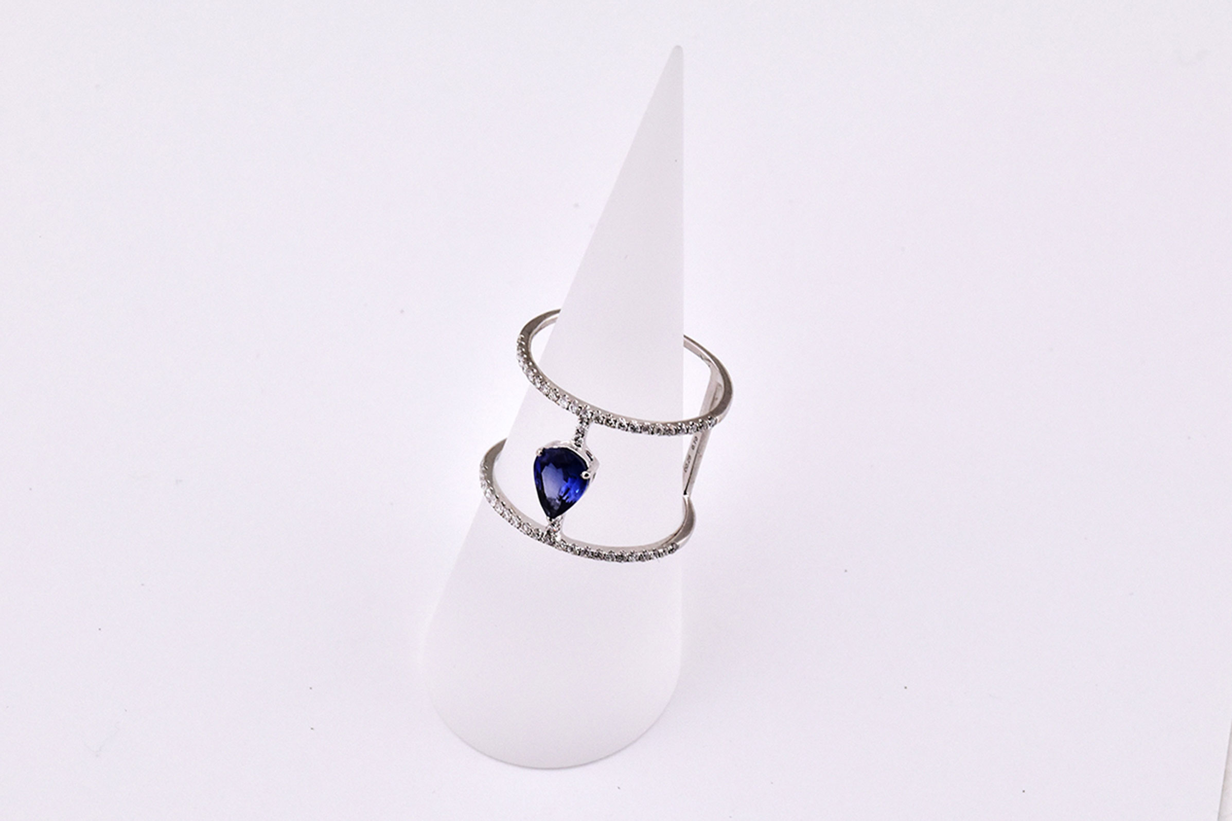 Over Half Carats Sapphire Diamond Cocktail Ring