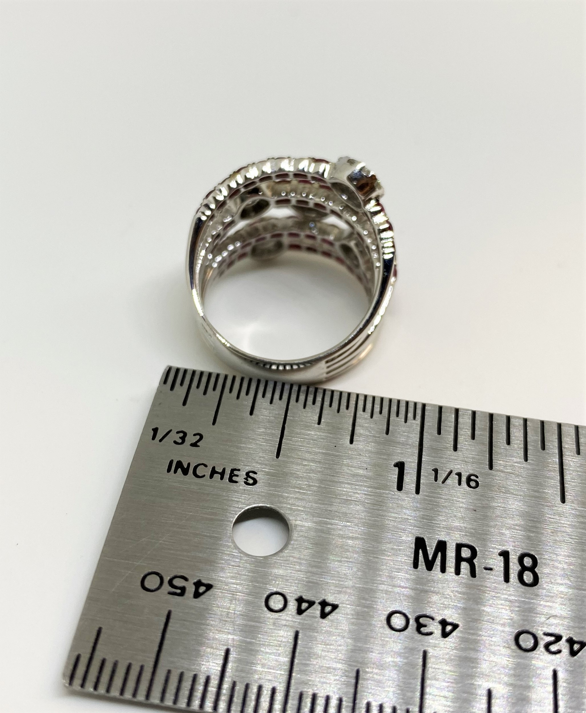 2.5 Carats Total Weight Ruby Cocktail Diamond Ring