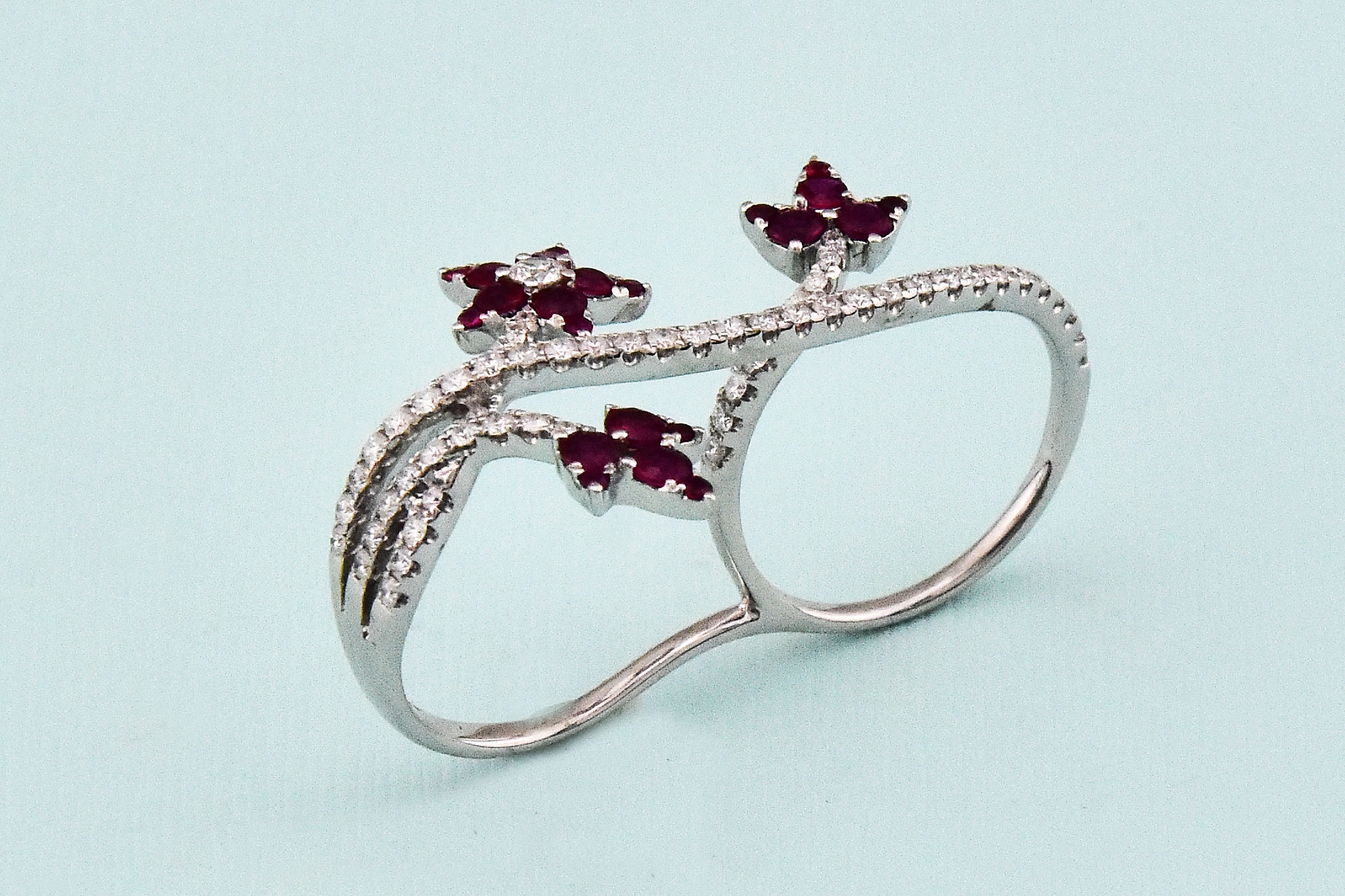 Ruby & Diamond Double-Finger White Gold Ring