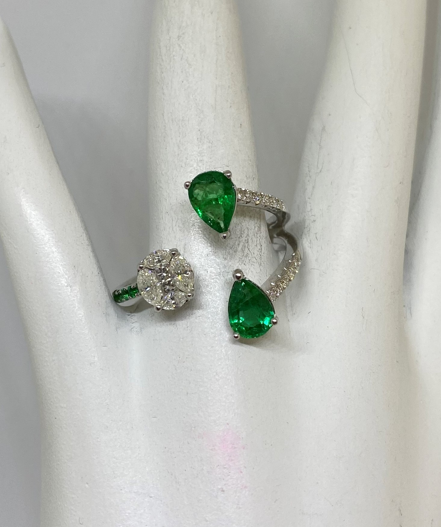 Over 1 Carat Emerald Cocktail Open Ring