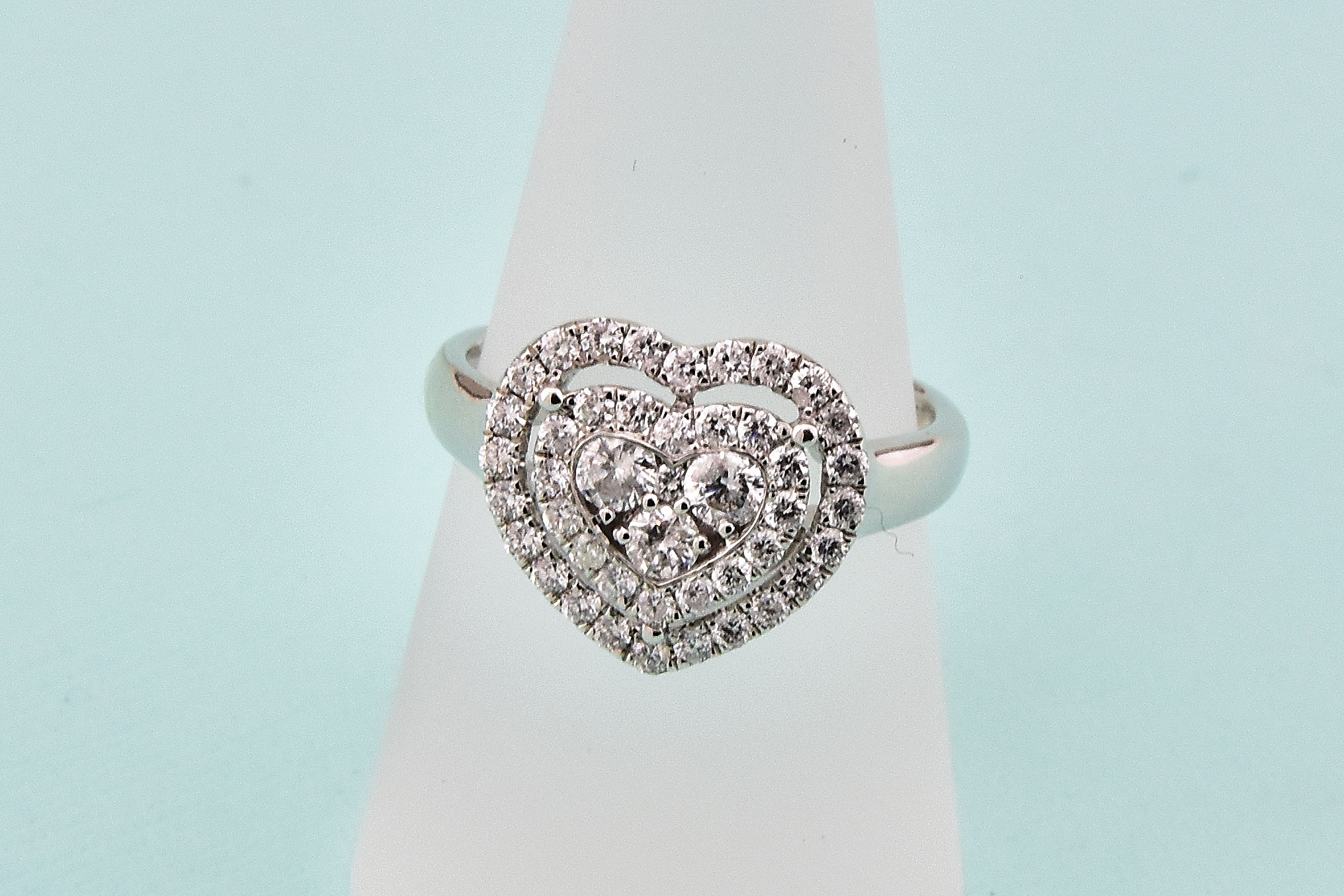 Almost 1 Carat Total Weight Diamond Heart Shape Ring