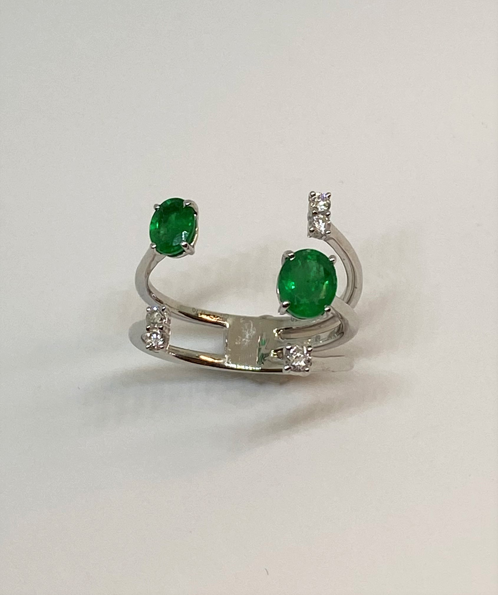 White Gold Emerald Open Ring