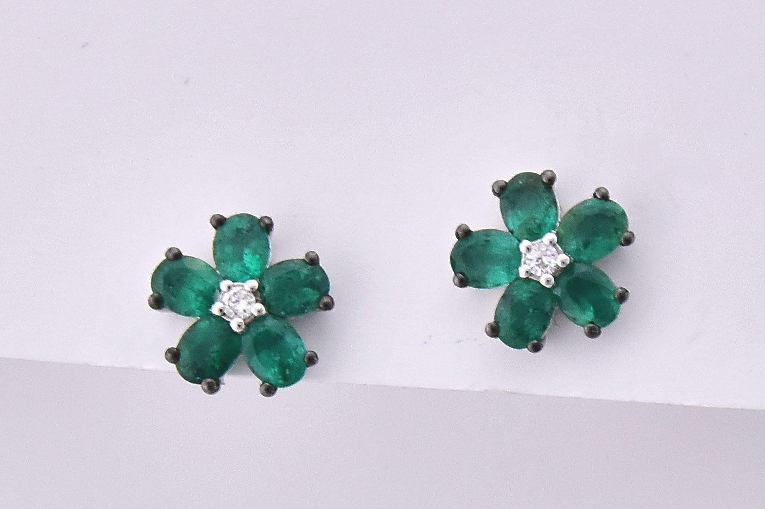 Over 1.50 Carats Floral Style Emerald Earrings