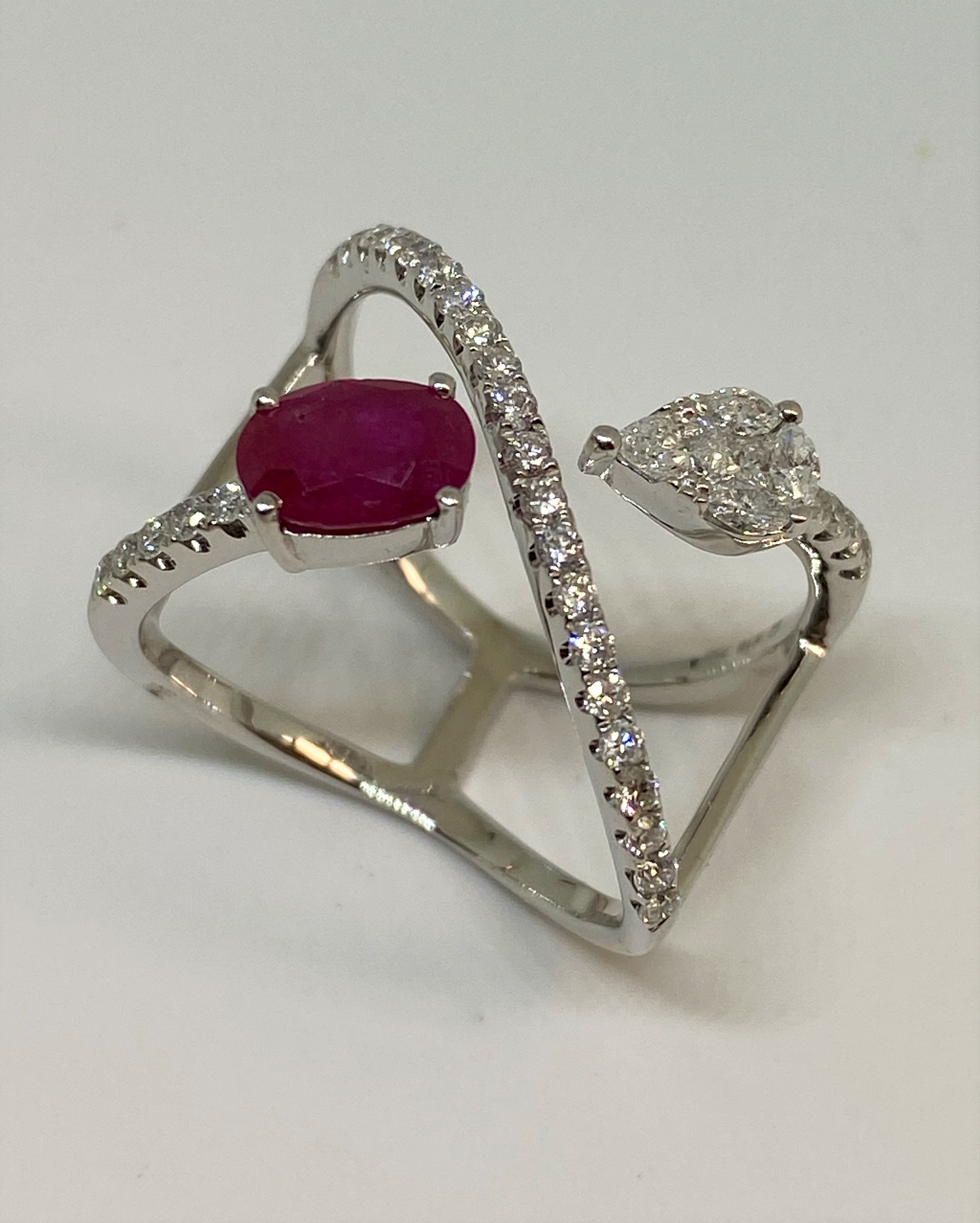 White Gold Cocktail Style Ruby Diamond Ring