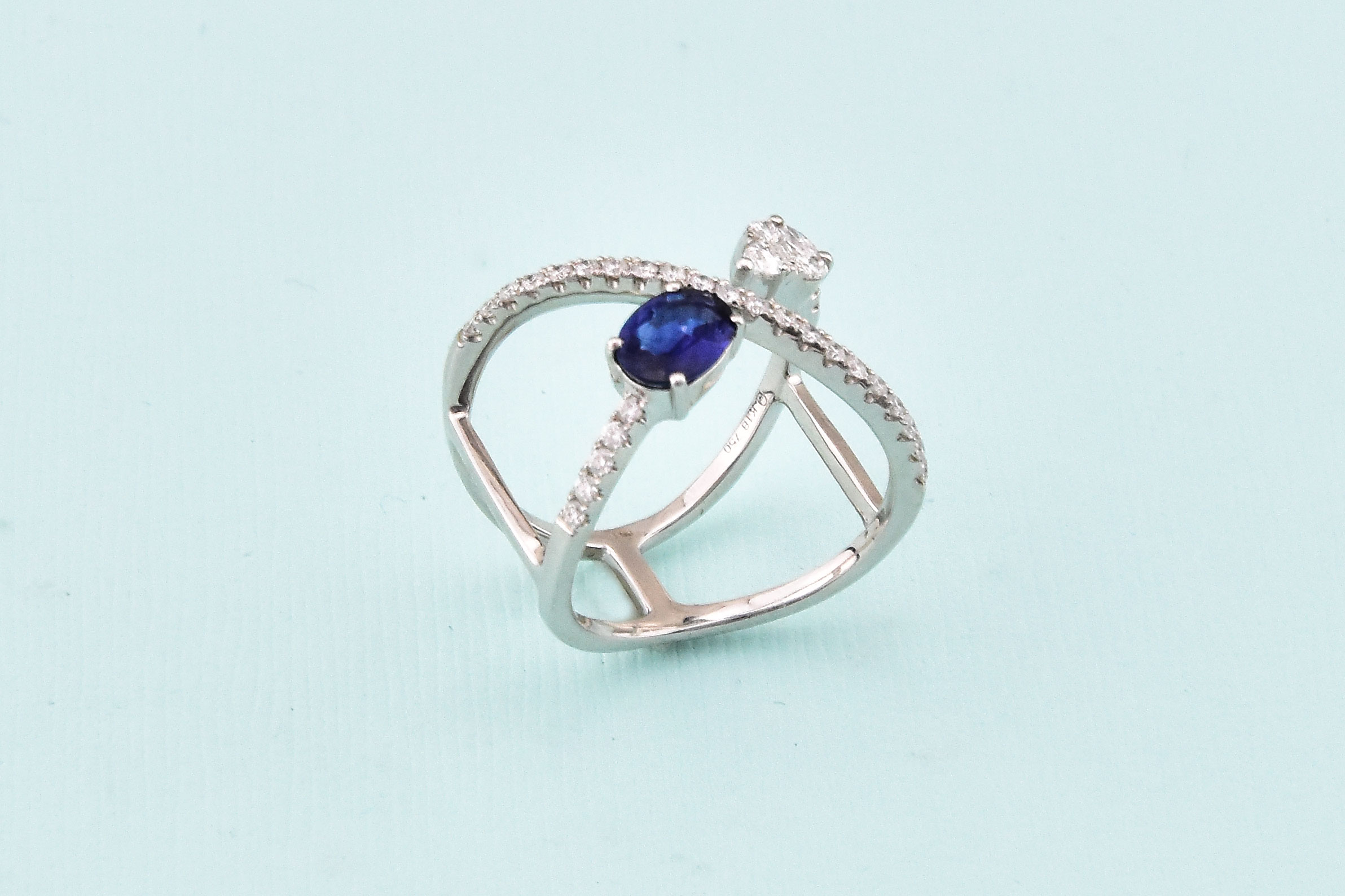 White Gold Diamond Sapphire Cocktail Ring
