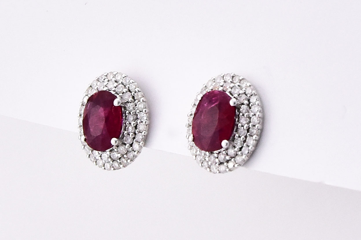 Almost 3.5 Carats Ruby & Diamond Earrings