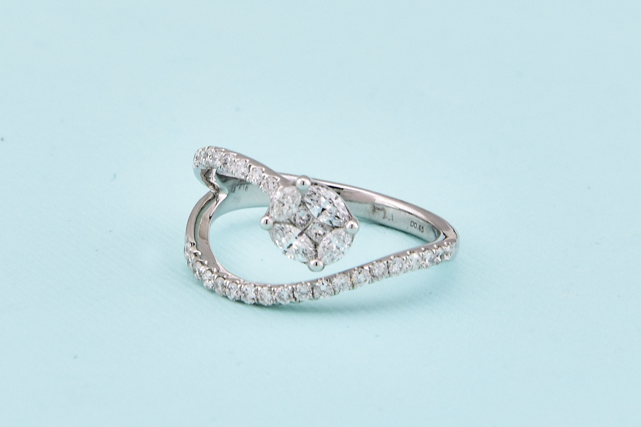 Over Half Carats Total Weight Diamond Stylish Ring
