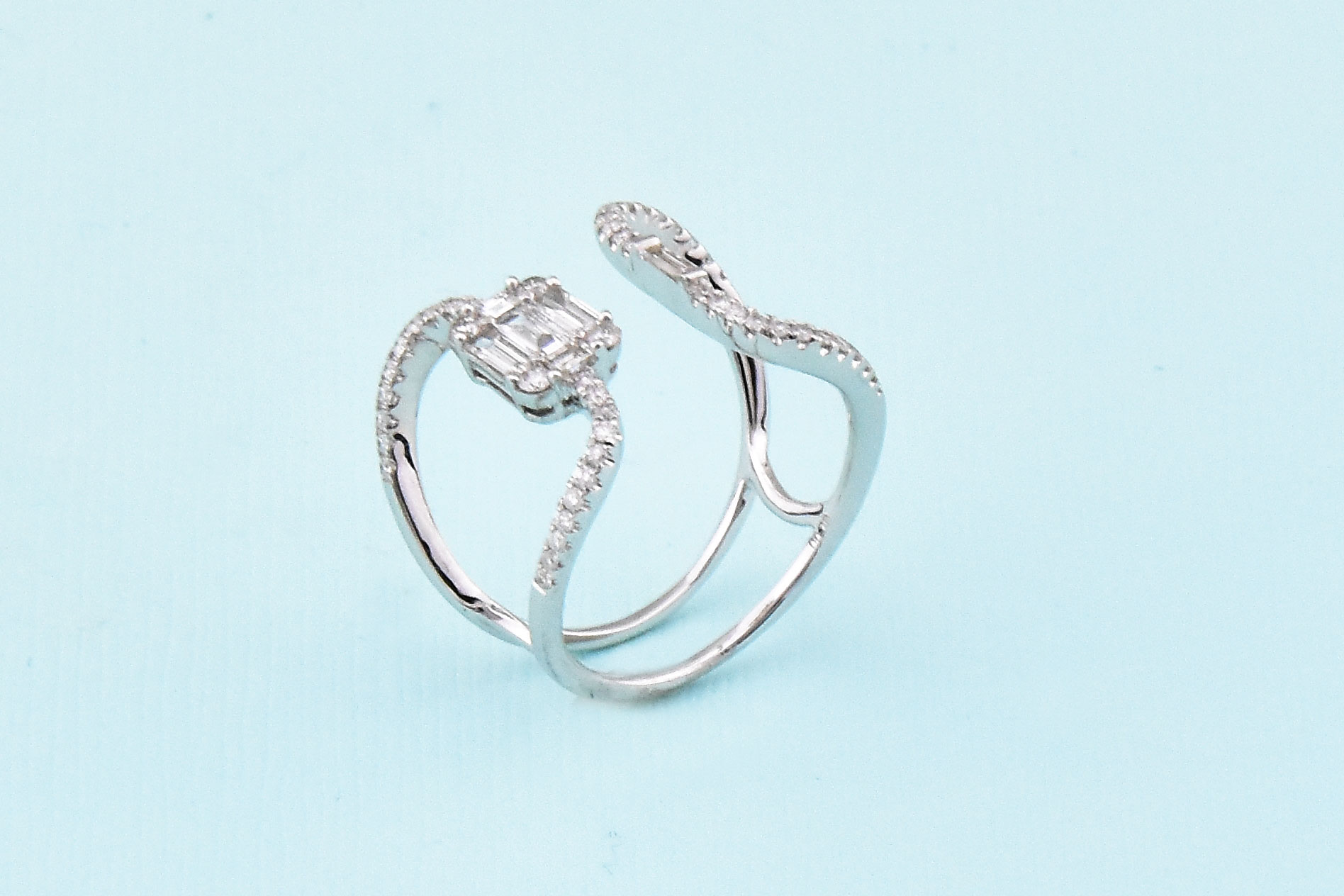 Three Quarters Total Weight White Gold Diamond Open Ring