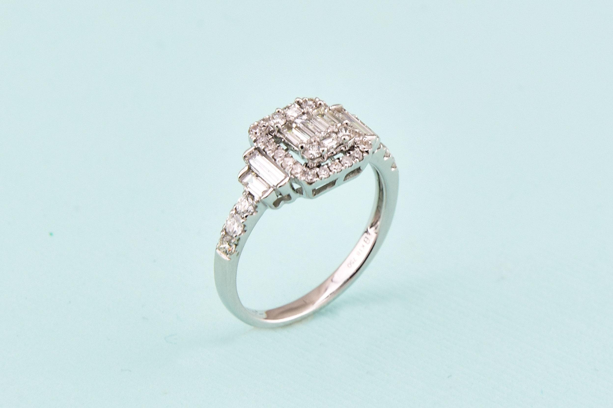 1 Carat Total Weight Diamond White Gold Ring