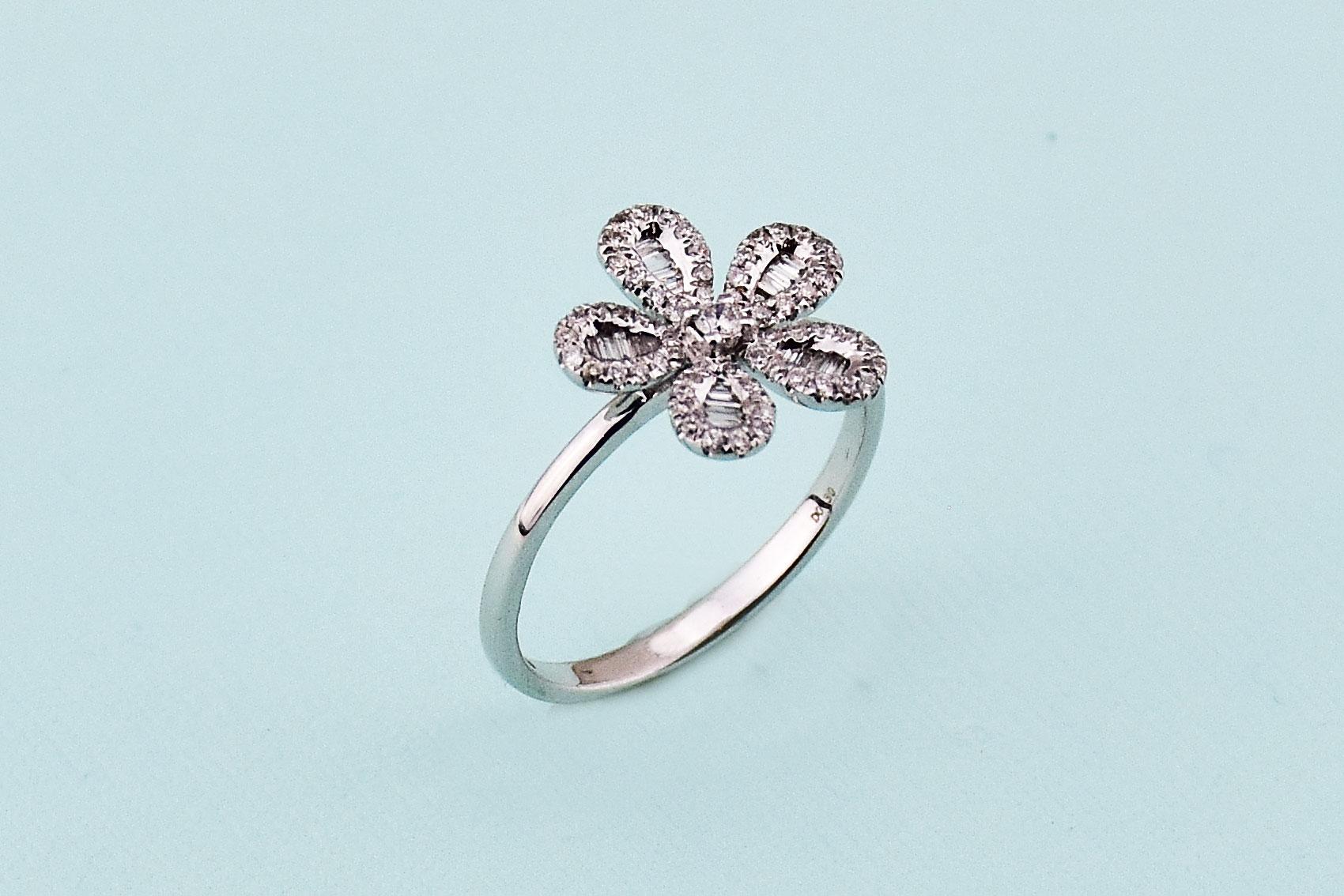 One Third Carats Flower Design Diamond White Gold Ring
