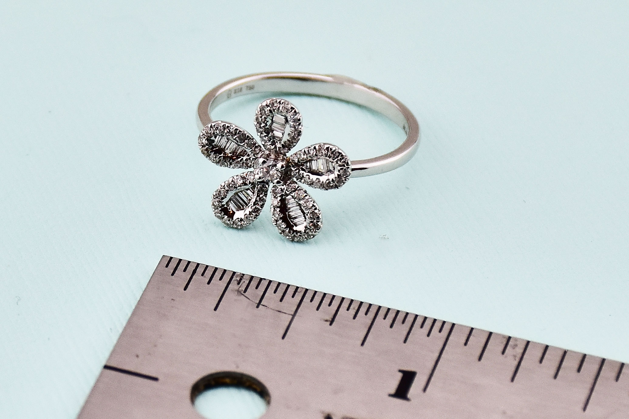 One Third Carats Flower Design Diamond White Gold Ring